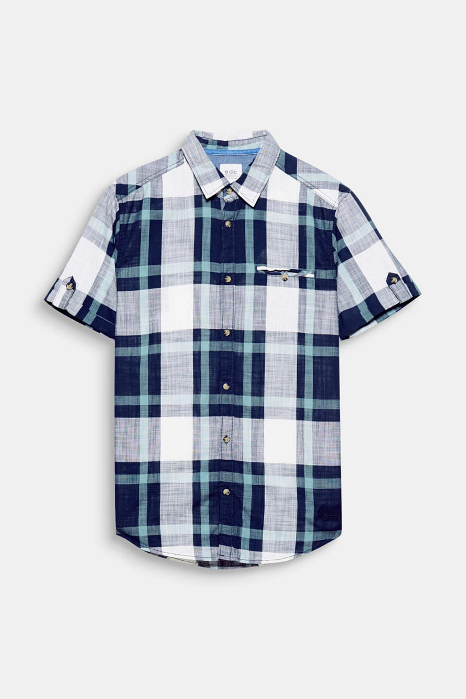 The stunning, interwoven check pattern makes this short sleeve shirt in textured cotton fabric a head-turner.