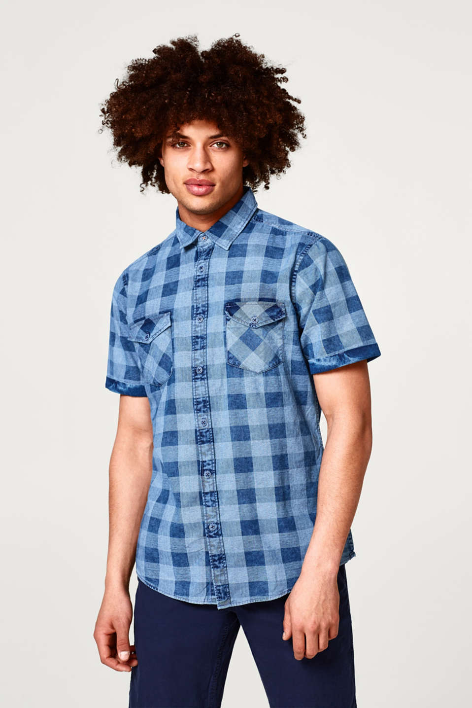 edc - Short sleeve cotton shirt with a pigment-dyed finish