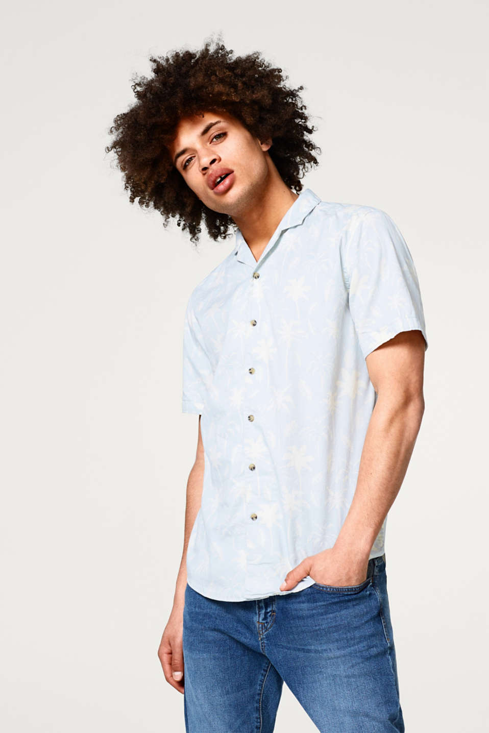 edc - Short sleeve shirt with a Cuban collar and tropical print