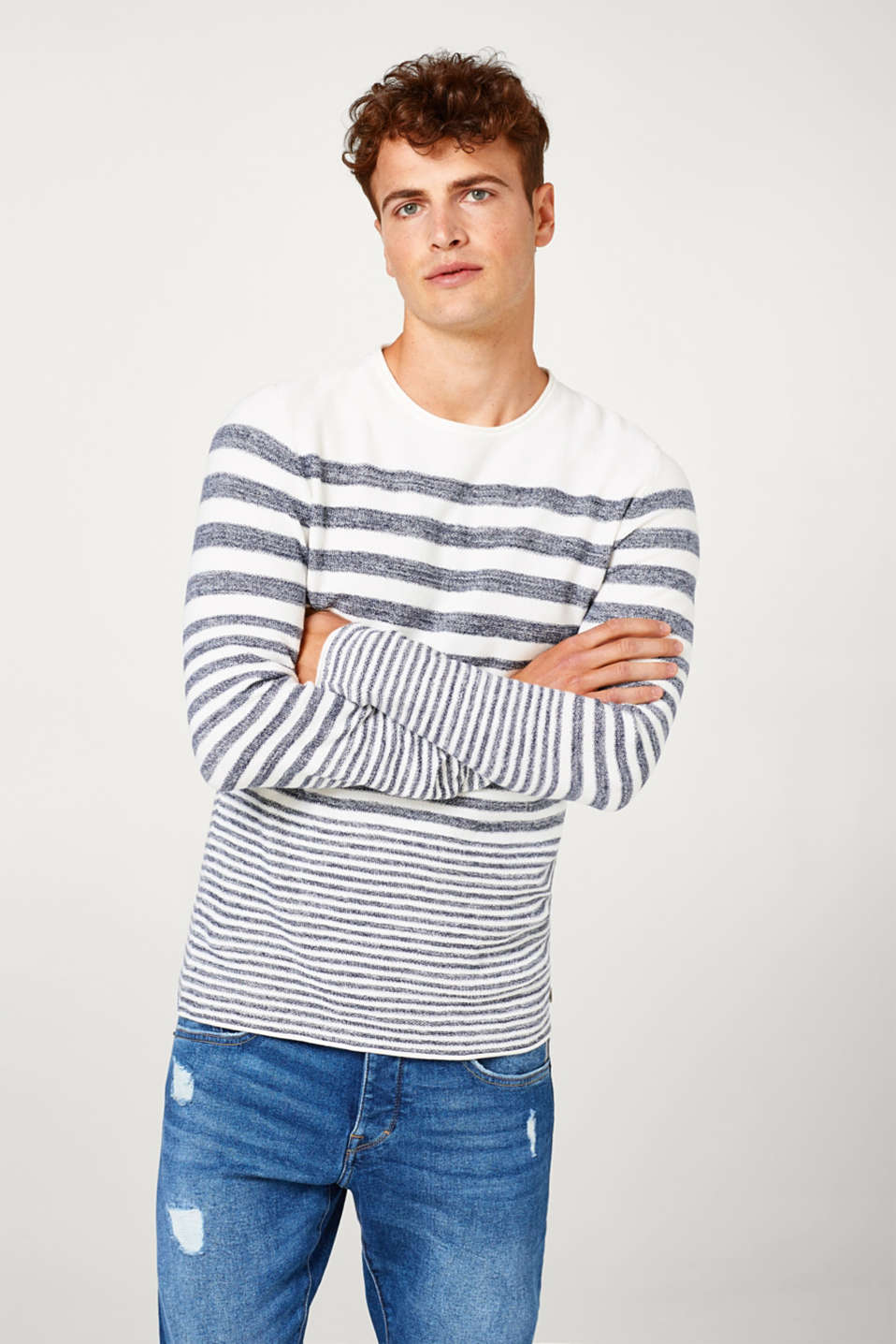 edc - Jumper with nautical stripes in 100% cotton