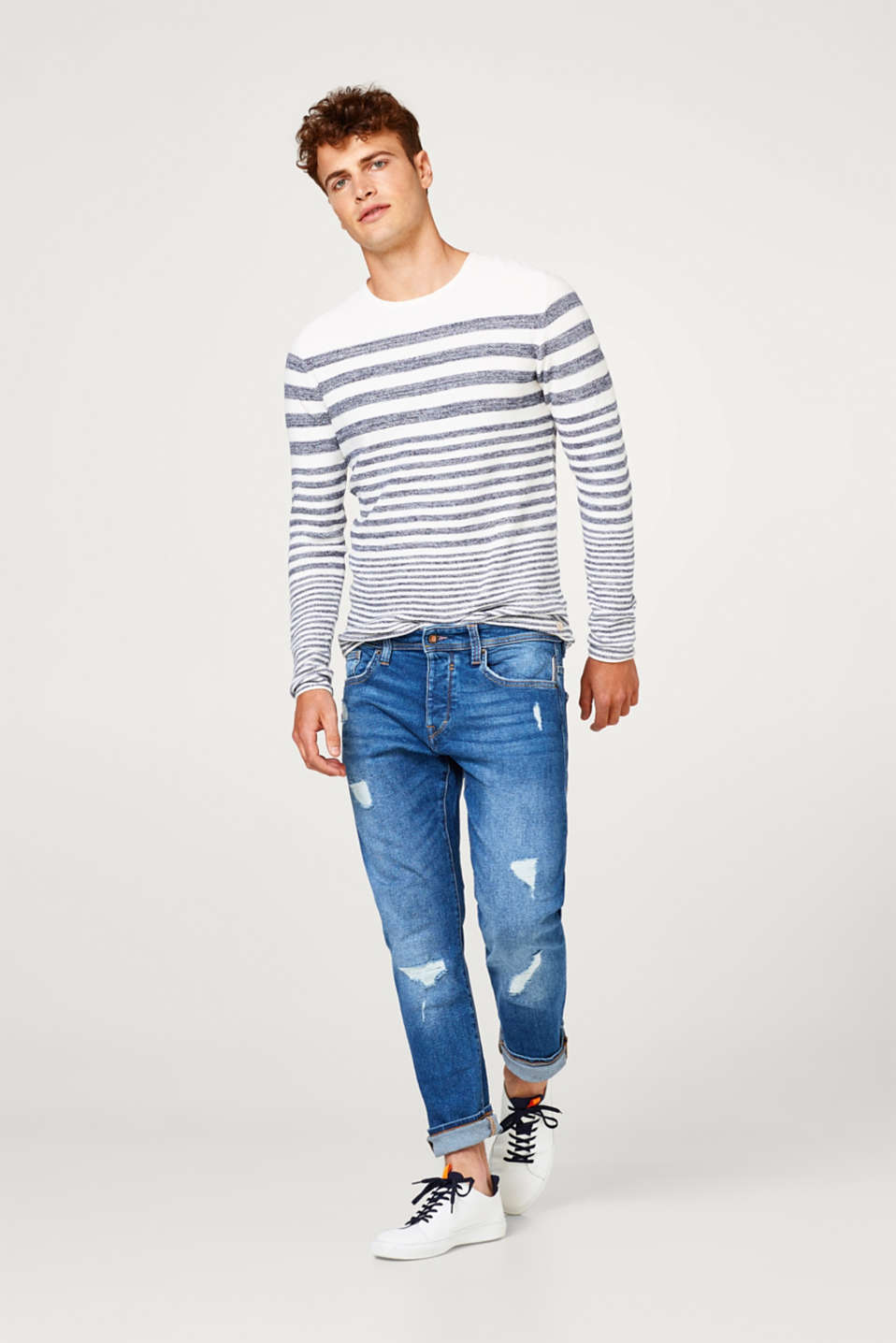 Jumper with nautical stripes in 100% cotton
