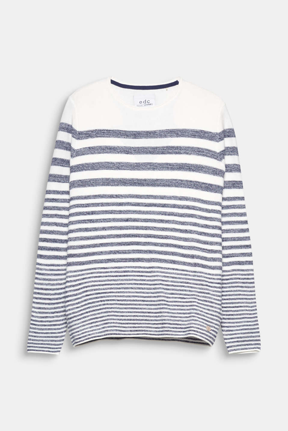 Timeless and sporty! Nautical stripes and jersey with a grainy texture make this jumper a true summery style.