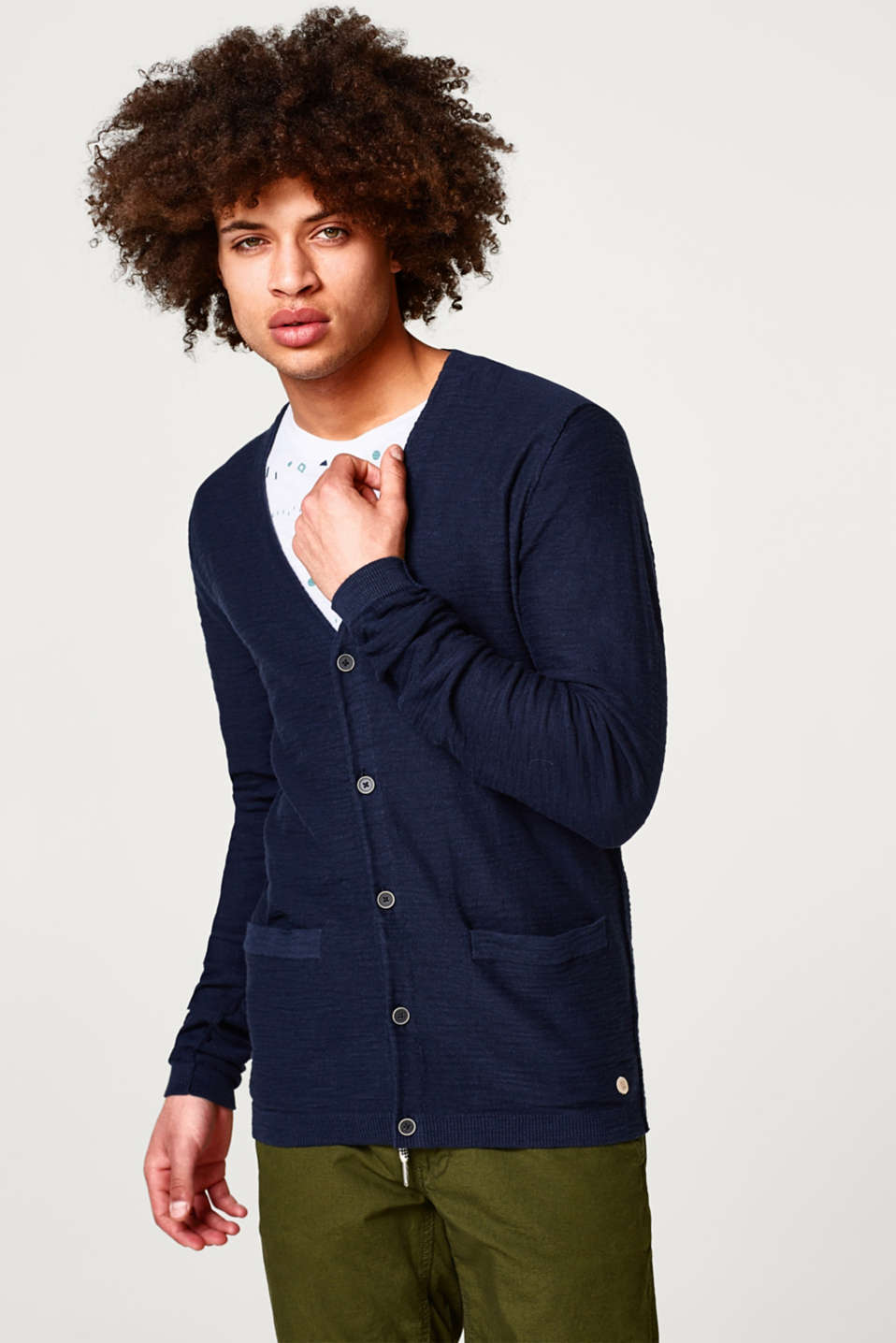 edc - Cool cotton cardigan with a slub texture