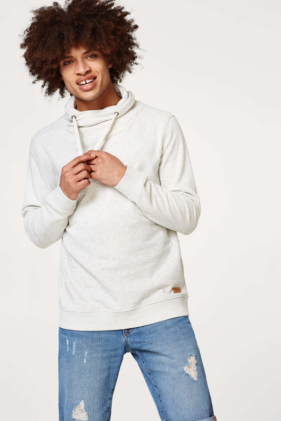 edc - Drawstring collar sweatshirt in blended cotton