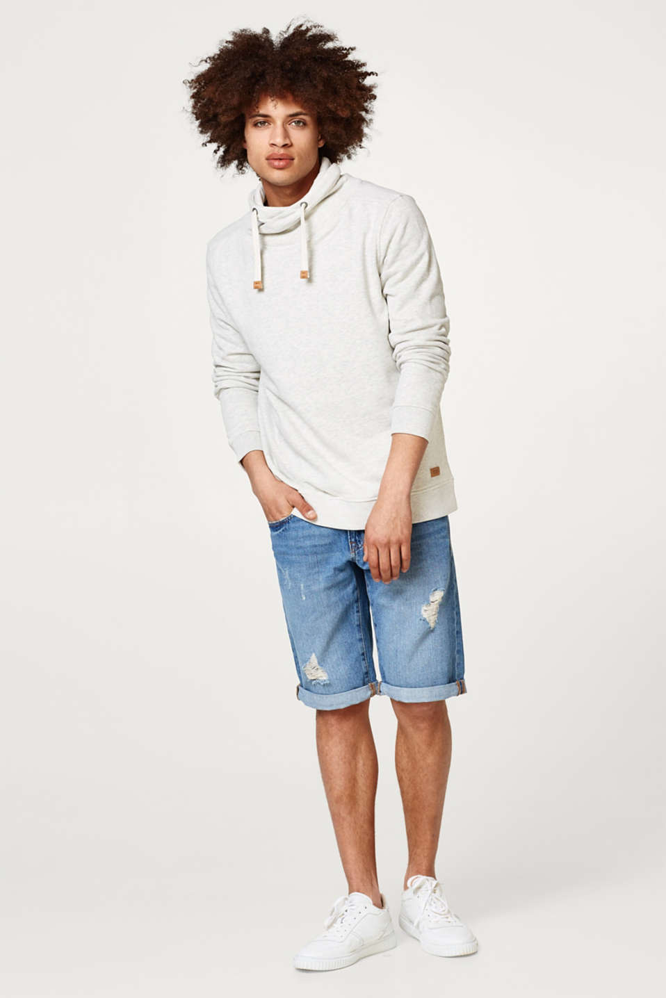 Drawstring collar sweatshirt in blended cotton