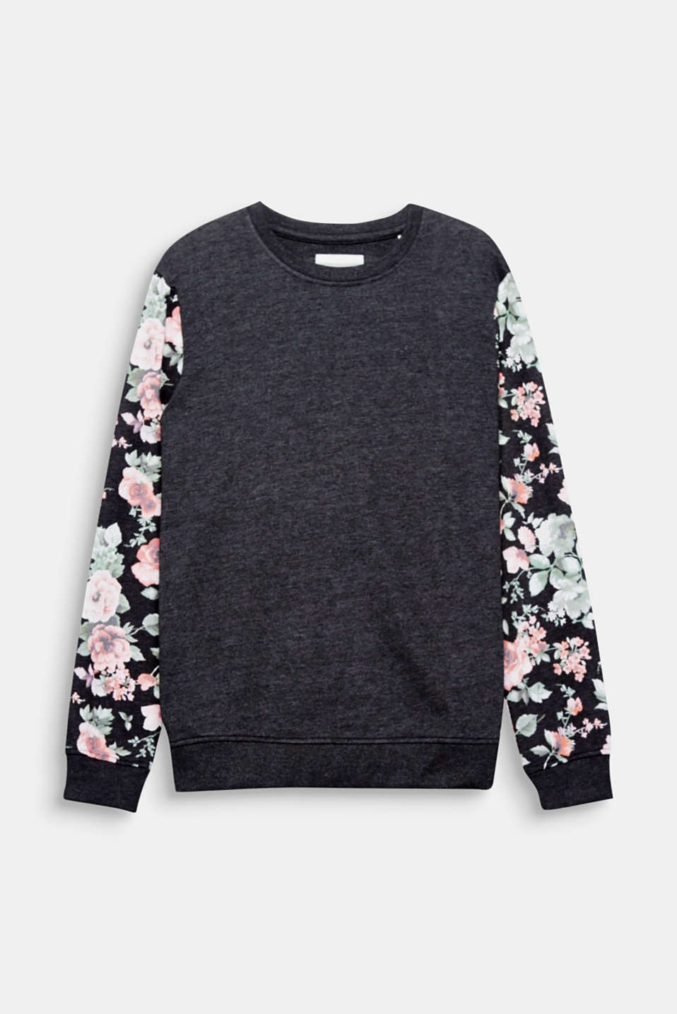 We love flowers! The sleeves with a floral print make this sweatshirt a trendy head-turner.