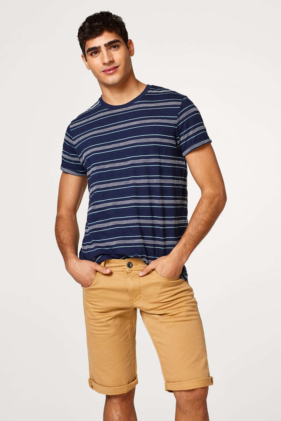 edc - Cotton jersey T-shirt with textured stripes