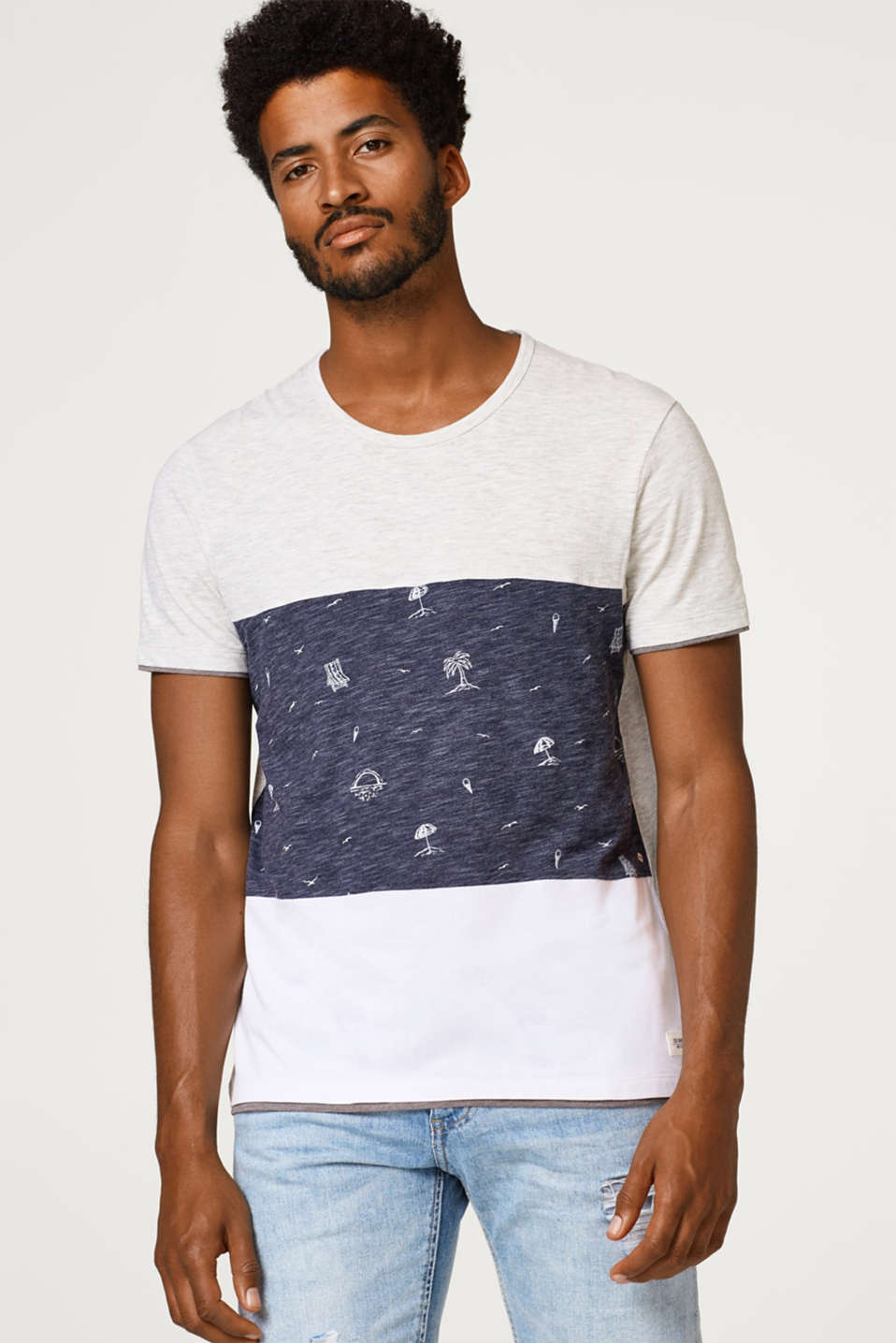 edc - Jersey T-shirt with block stripes and print