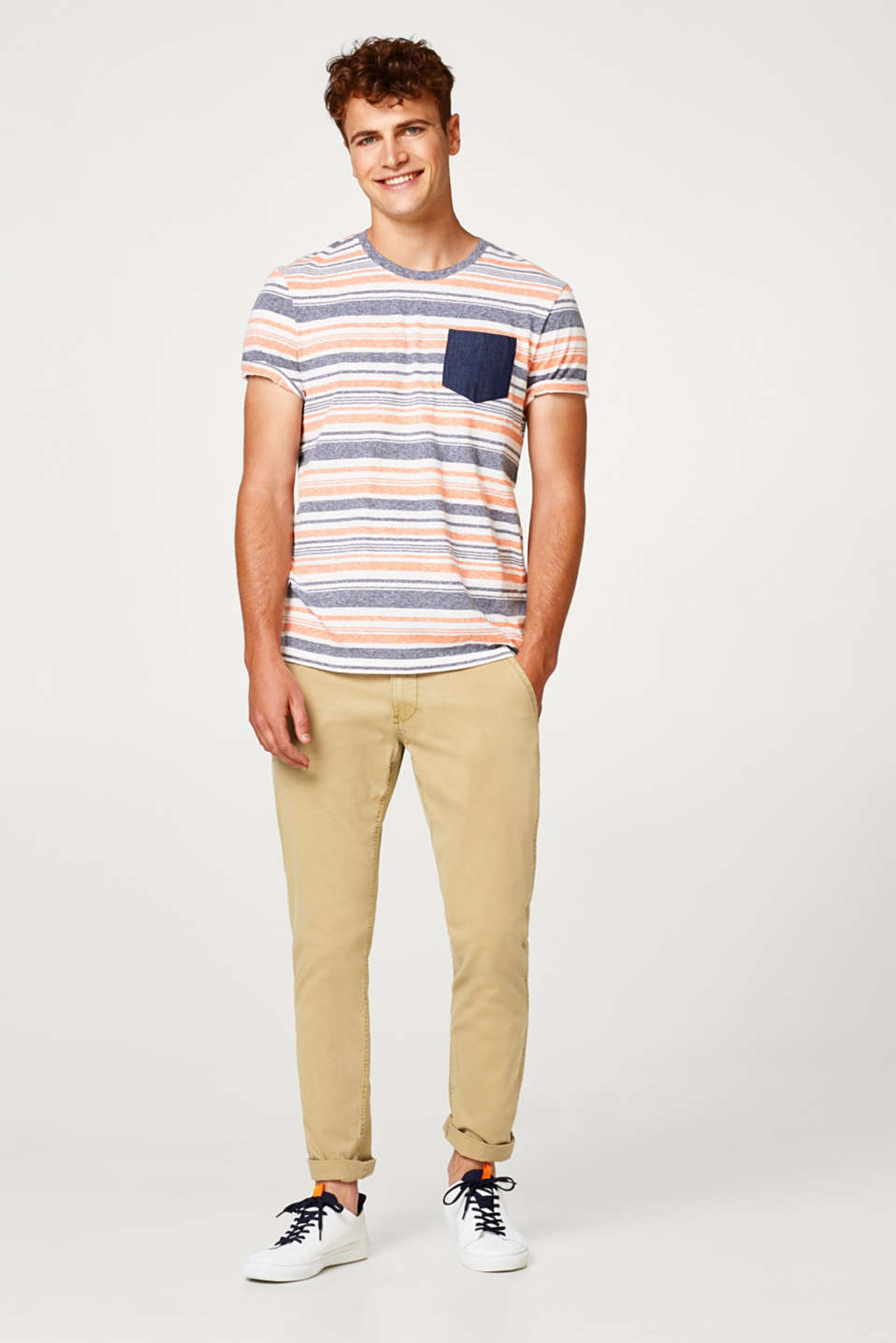 edc - Striped t-shirt with a breast pocket