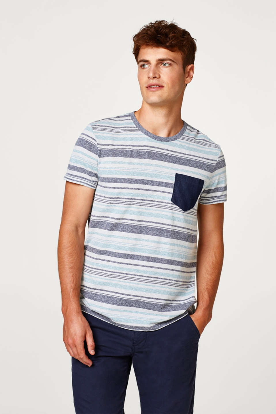 edc - Jersey T-shirt with stripes and a breast pocket