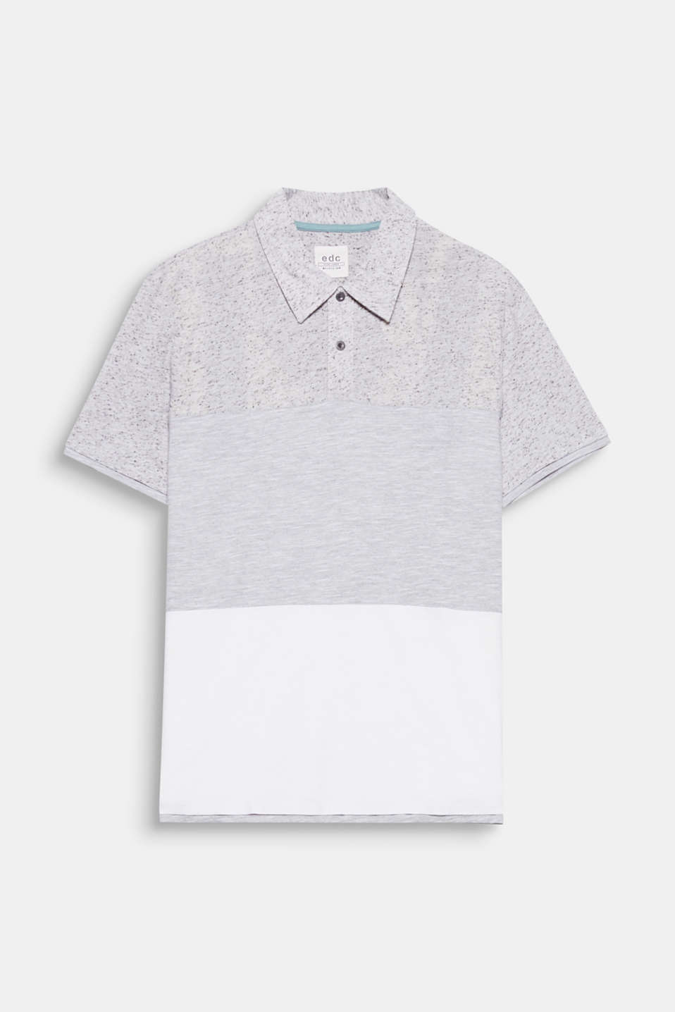We love texture! Melange or textured slub jersey and nubbed look – this polo shirt has a fresh, urban look.