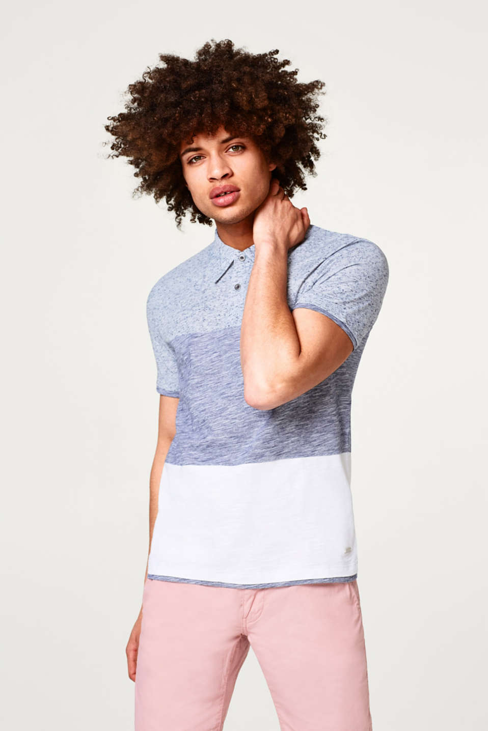 edc - Cotton jersey polo shirt with a mix of textures