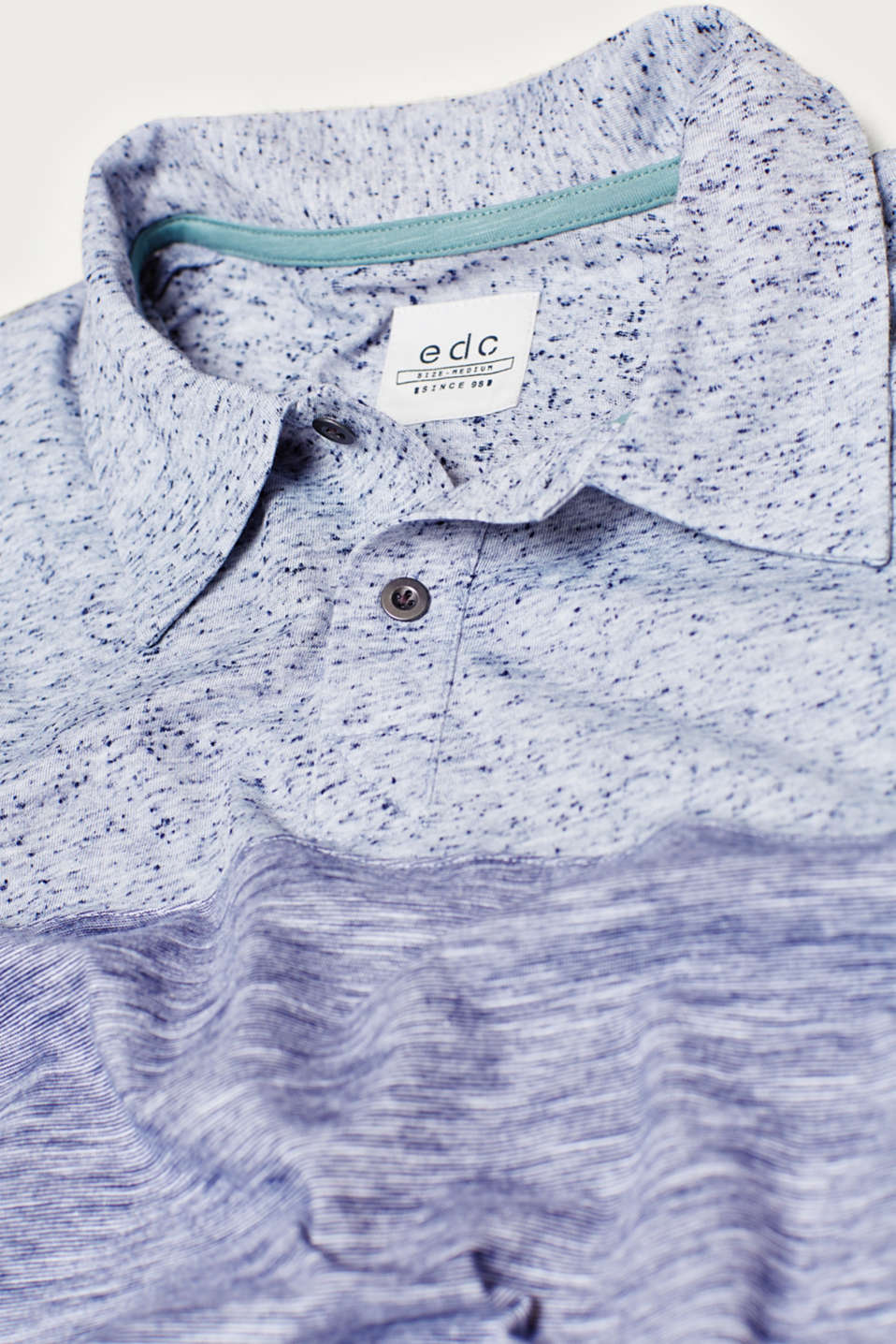 Cotton jersey polo shirt with a mix of textures