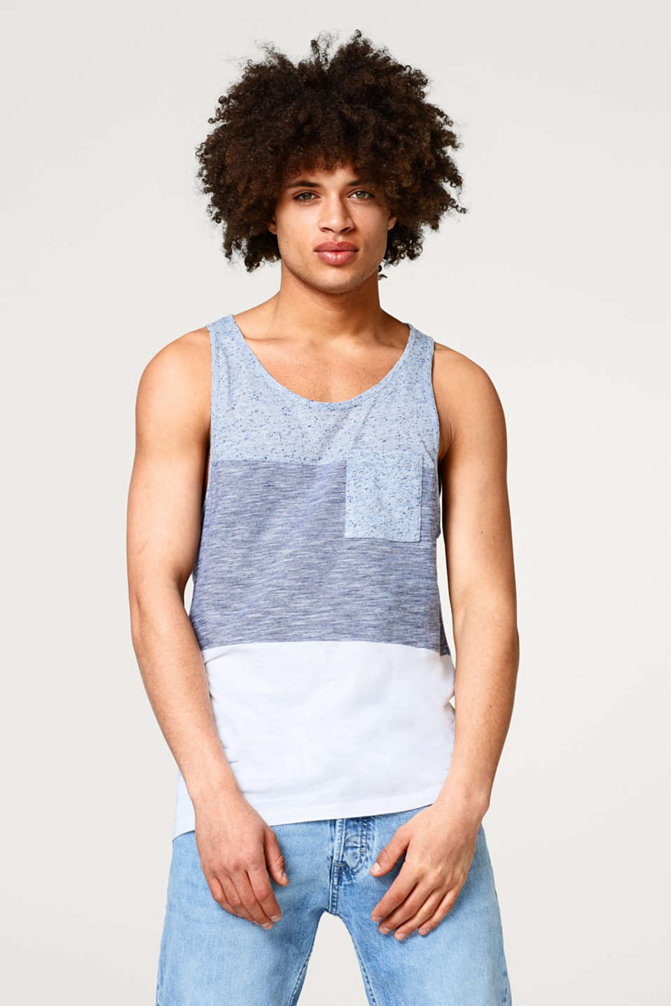 edc - Jersey vest with block stripes