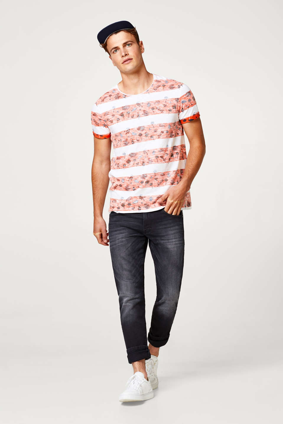 edc - Jersey T-shirt with a summery inside-out print