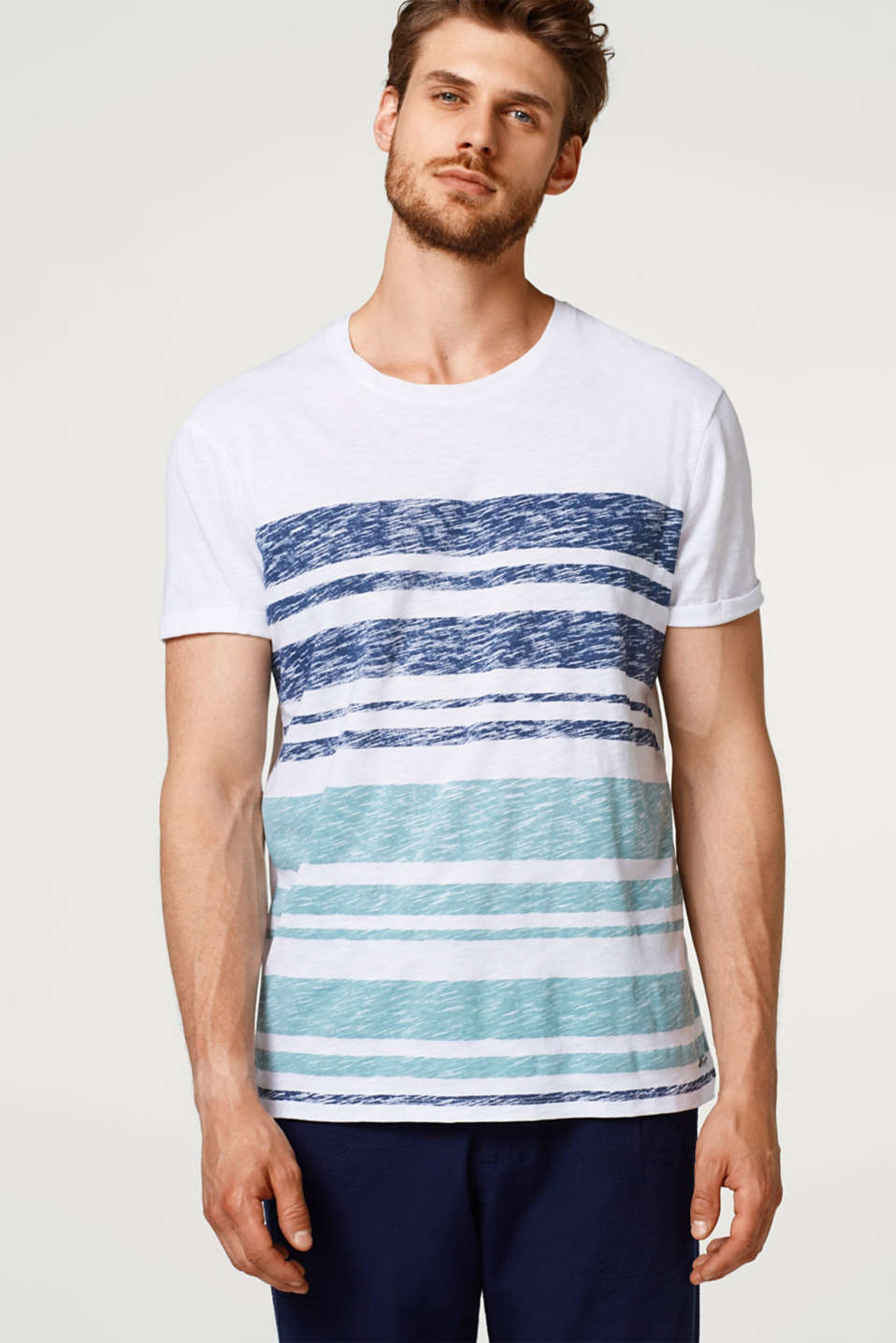 edc - Striped jersey T-shirt with an inside-out print