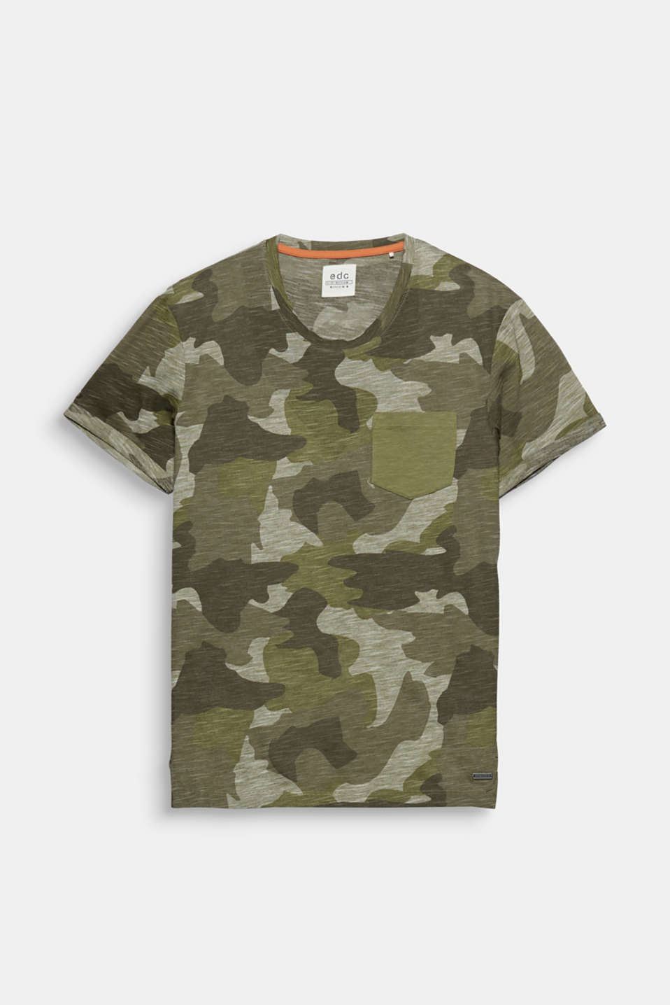 A stylish fashion piece with a timeless camouflage print: slub jersey T-shirt.