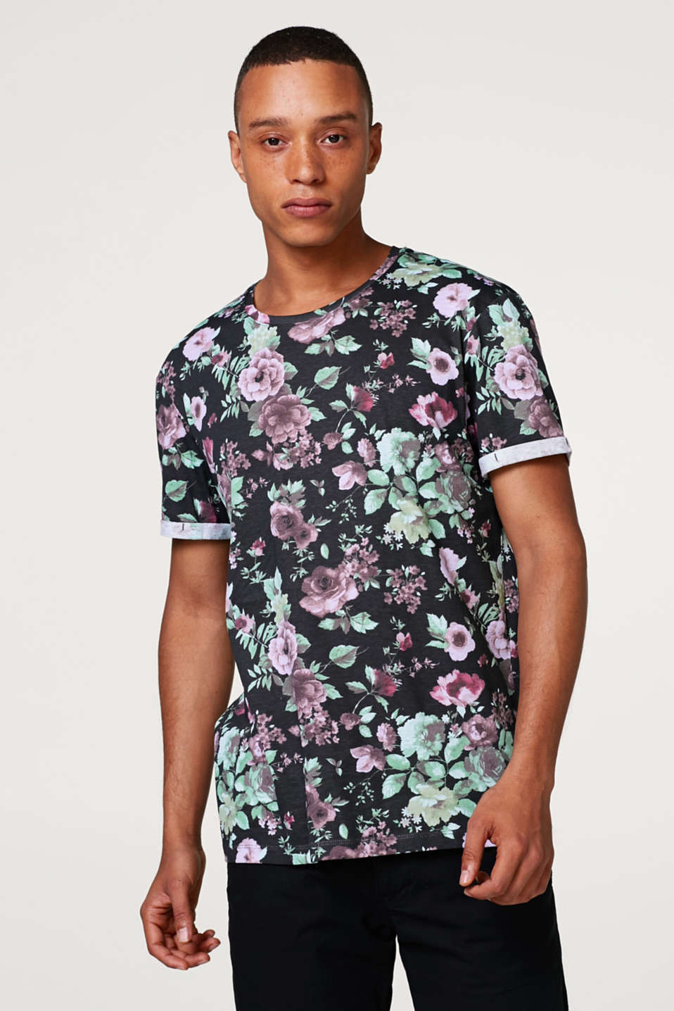 edc - Jerseyshirt med allover-blomsterprint