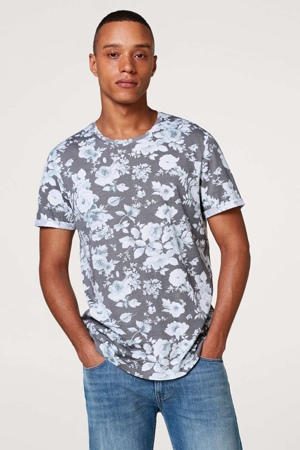 edc - Jersey T-shirt with a floral, all-over print