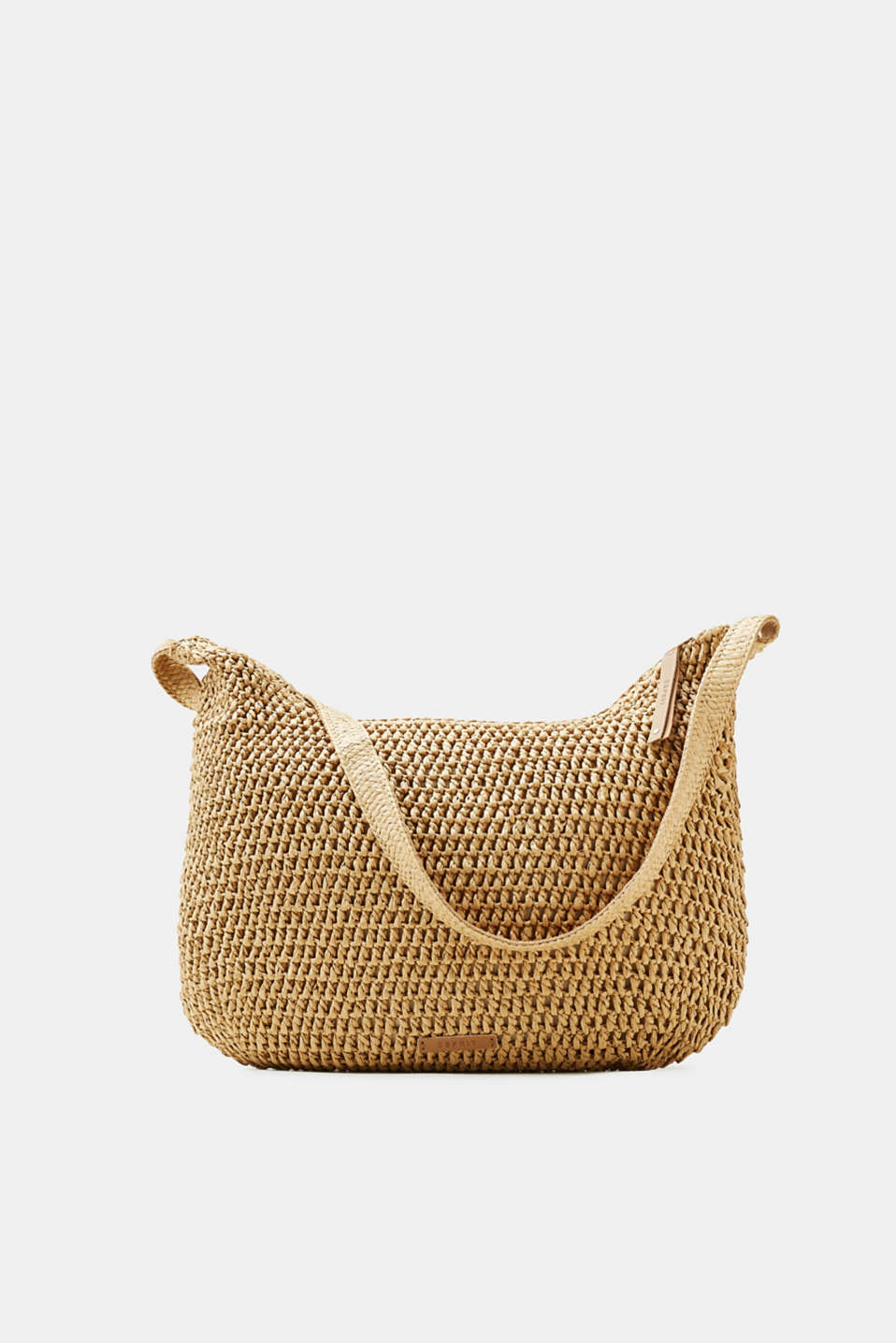 Sensationally summery: spacious shoulder bag made of woven bast with a practical zip plus genuine leather details!