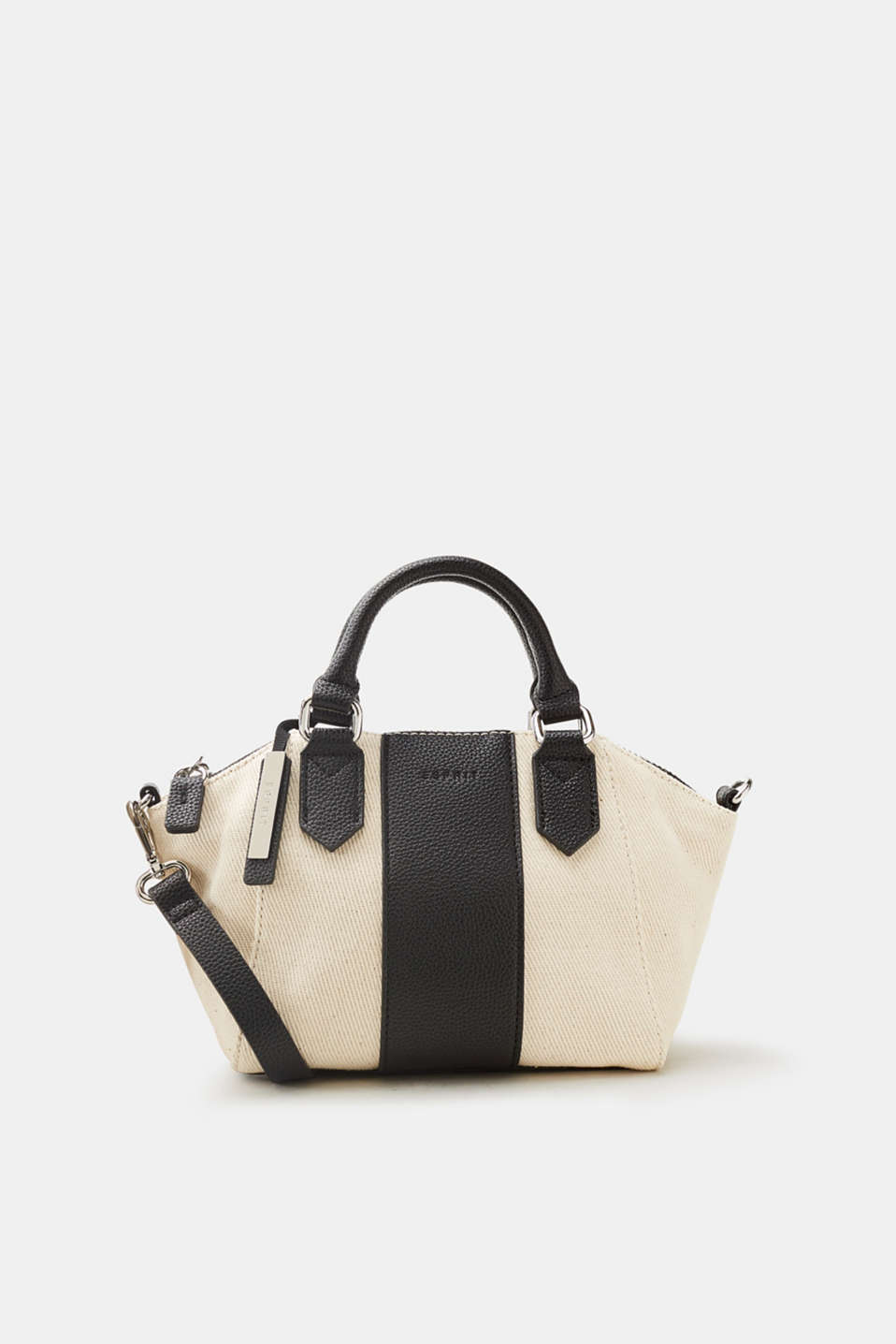 Esprit - Canvas city bag with faux leather details