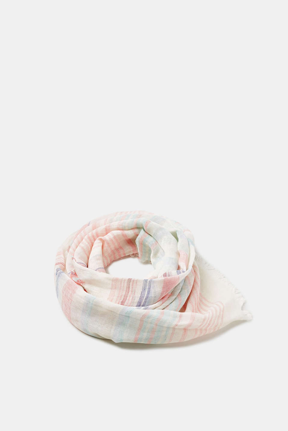 Esprit - Woven striped scarf with linen