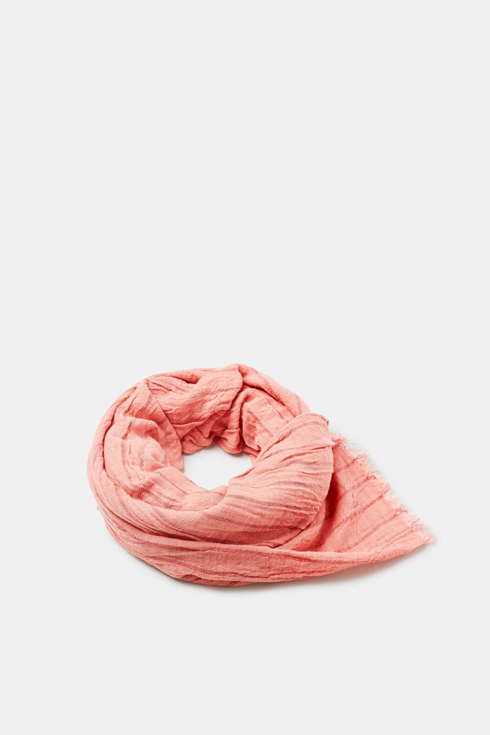 Esprit - Cotton crinkle scarf with a striped look
