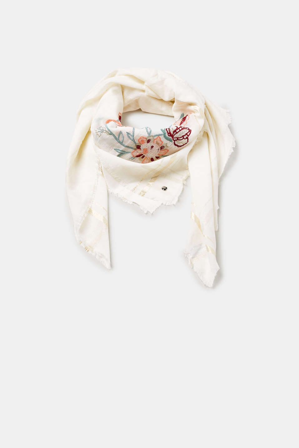 Esprit - Scarf with brightly coloured floral embroidery