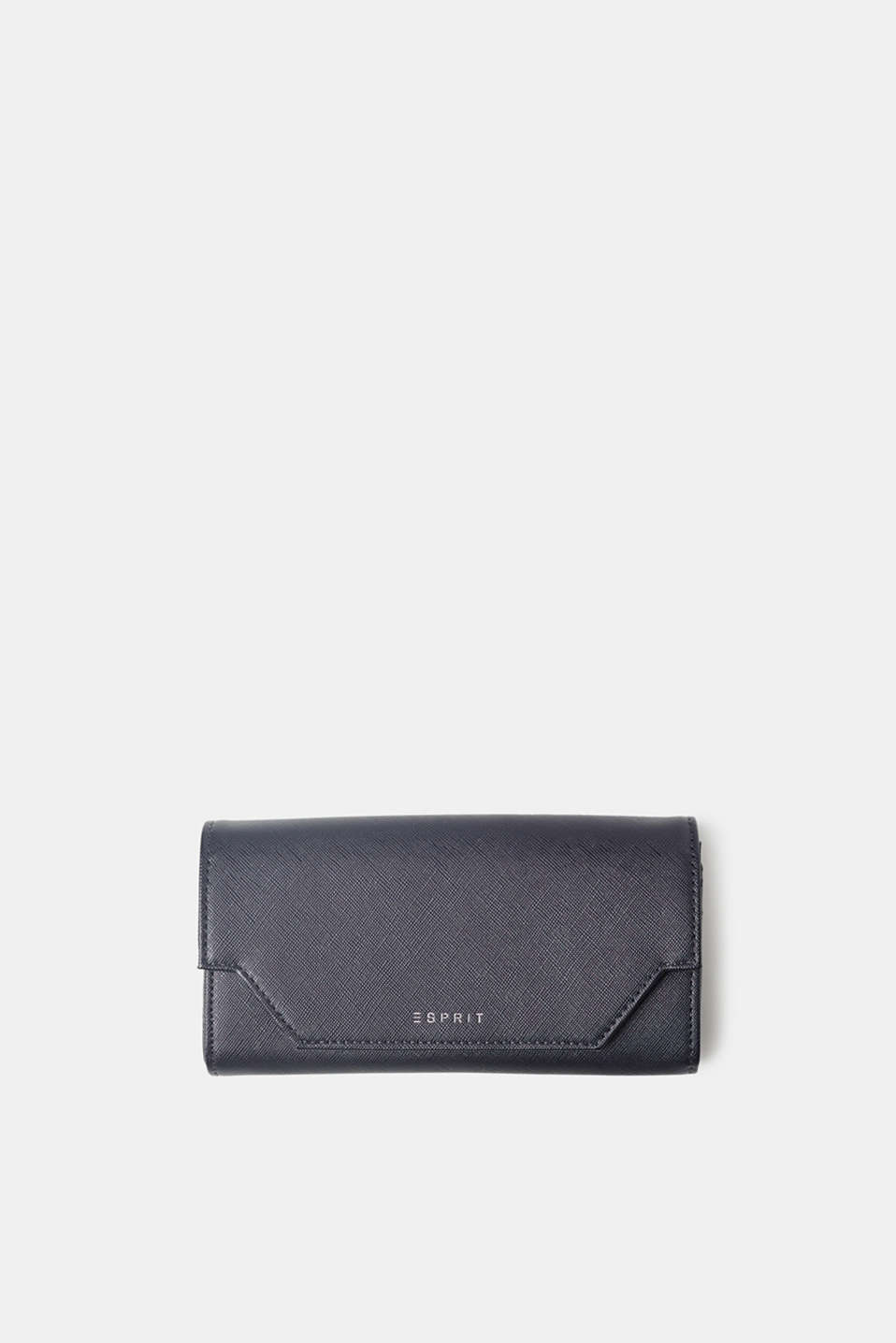 The textured faux leather and stunningly moulded flap give this waiter-style wallet an exciting look.