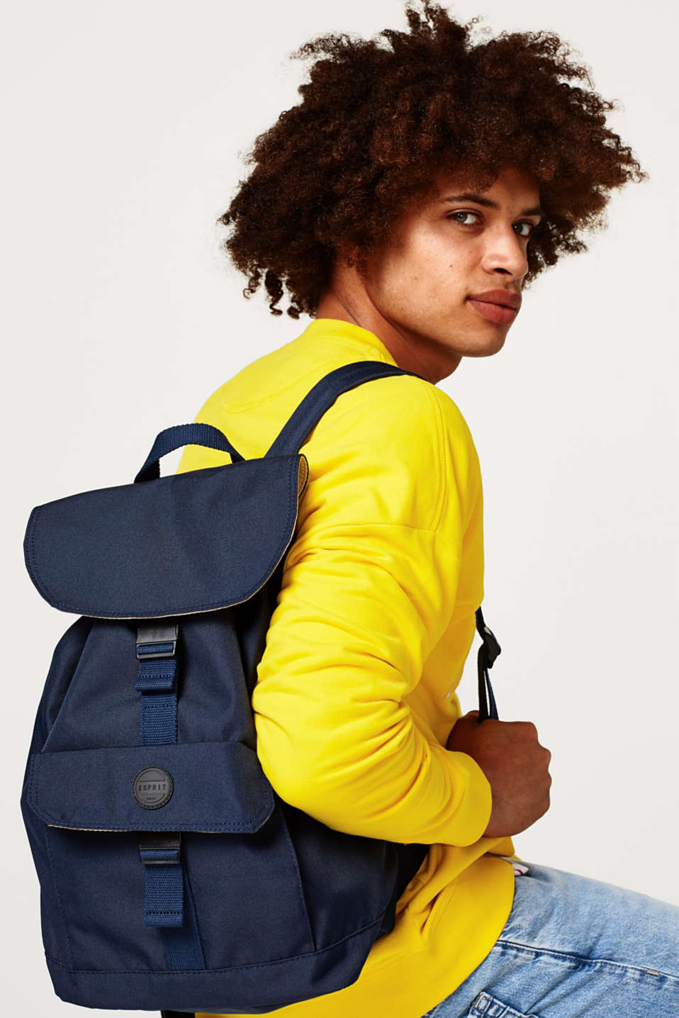 Canvas rucksack with padded tablet pocket