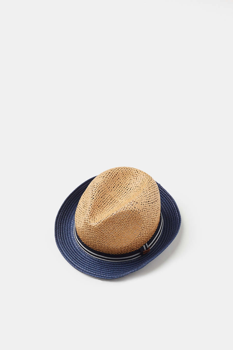 Esprit - Lightweight trilby hat with colour blocking, straw