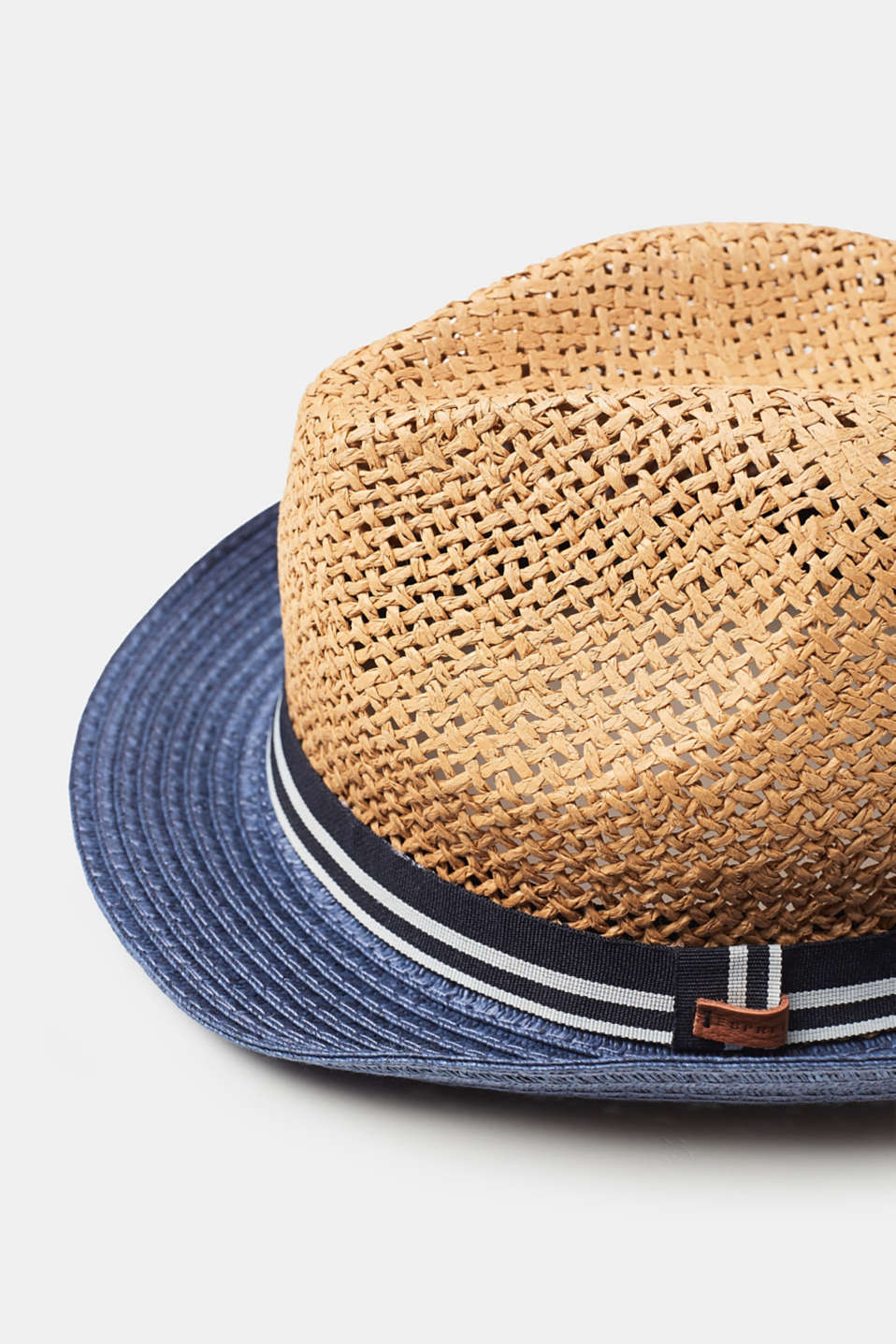 Lightweight trilby hat with colour blocking, straw