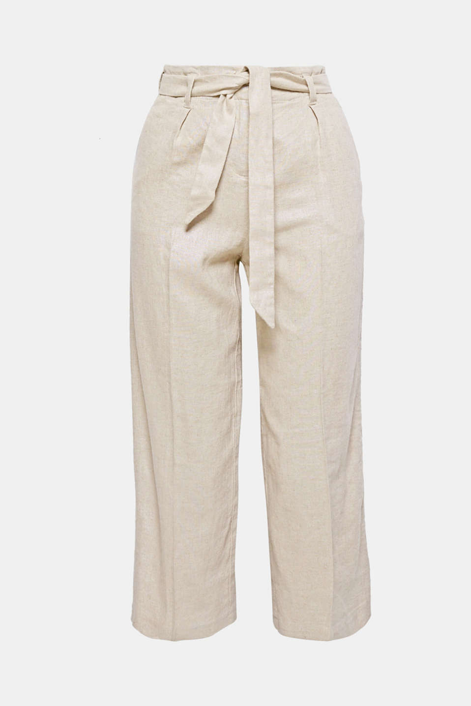One of the brand new trouser designs: this style features a cropped wide leg, a high-rise waist and a tie-around belt in elegant, glittering blended linen!