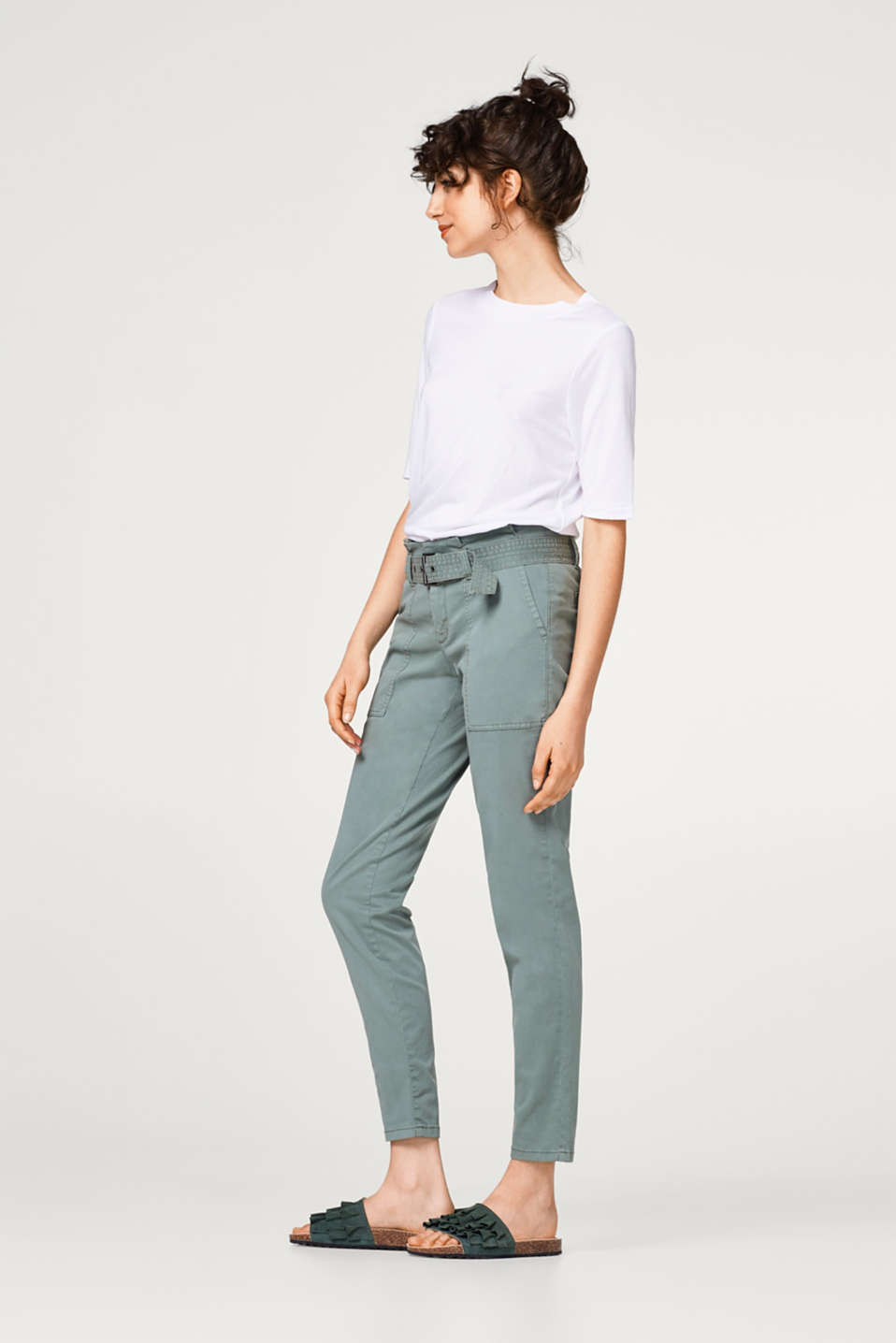 Soft paper bag trousers with a belt and added stretch for comfort