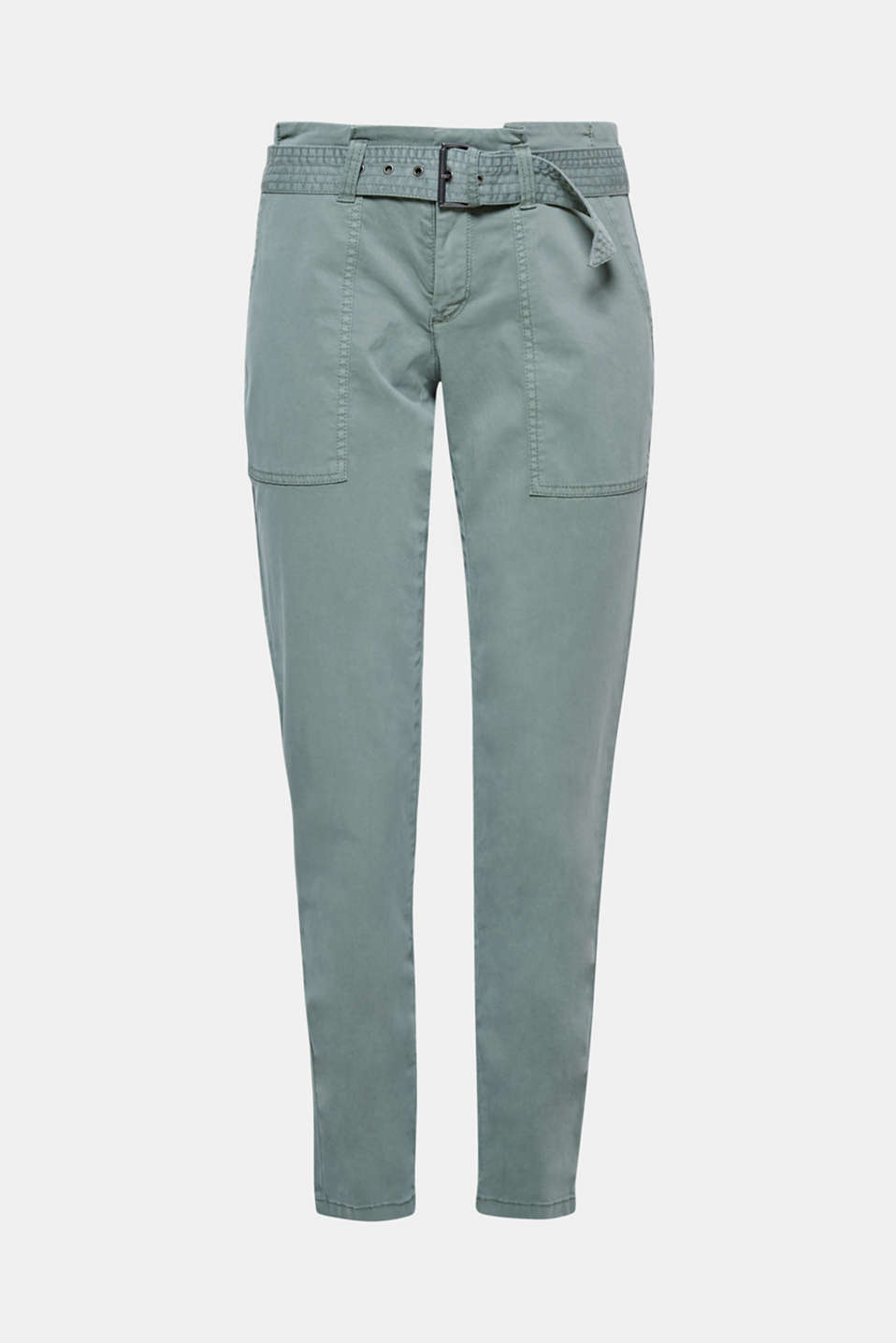 New silhouette in a laid-back look: These soft trousers feature an on-trend paper bag waistband and front patch pockets for a really eye-catching look!