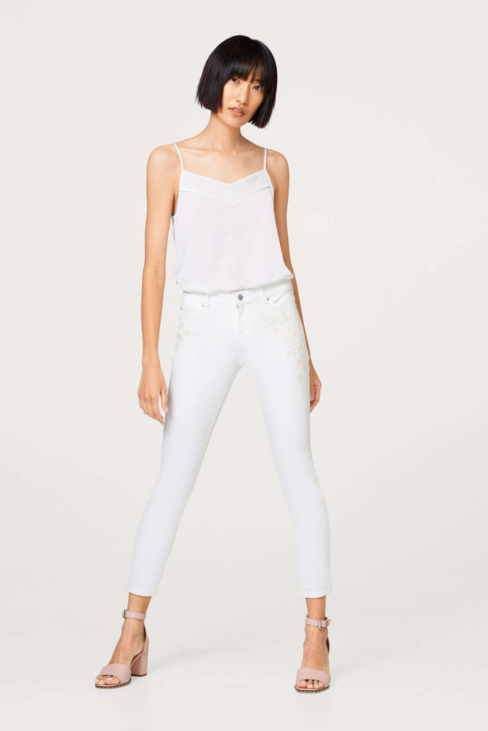 Esprit - White stretch jeans with embroidery