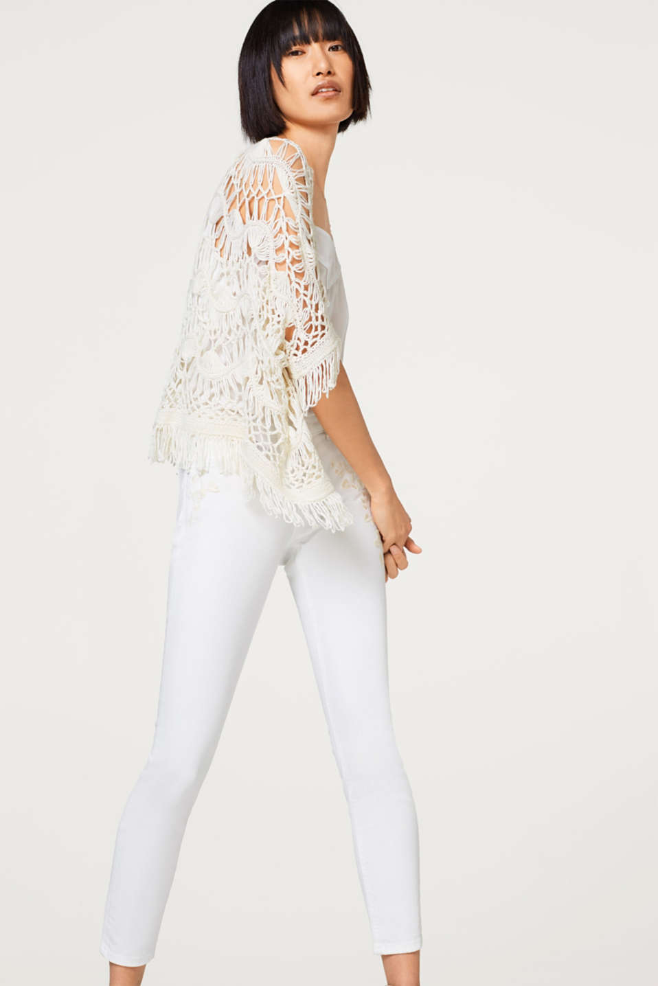 White stretch jeans with embroidery