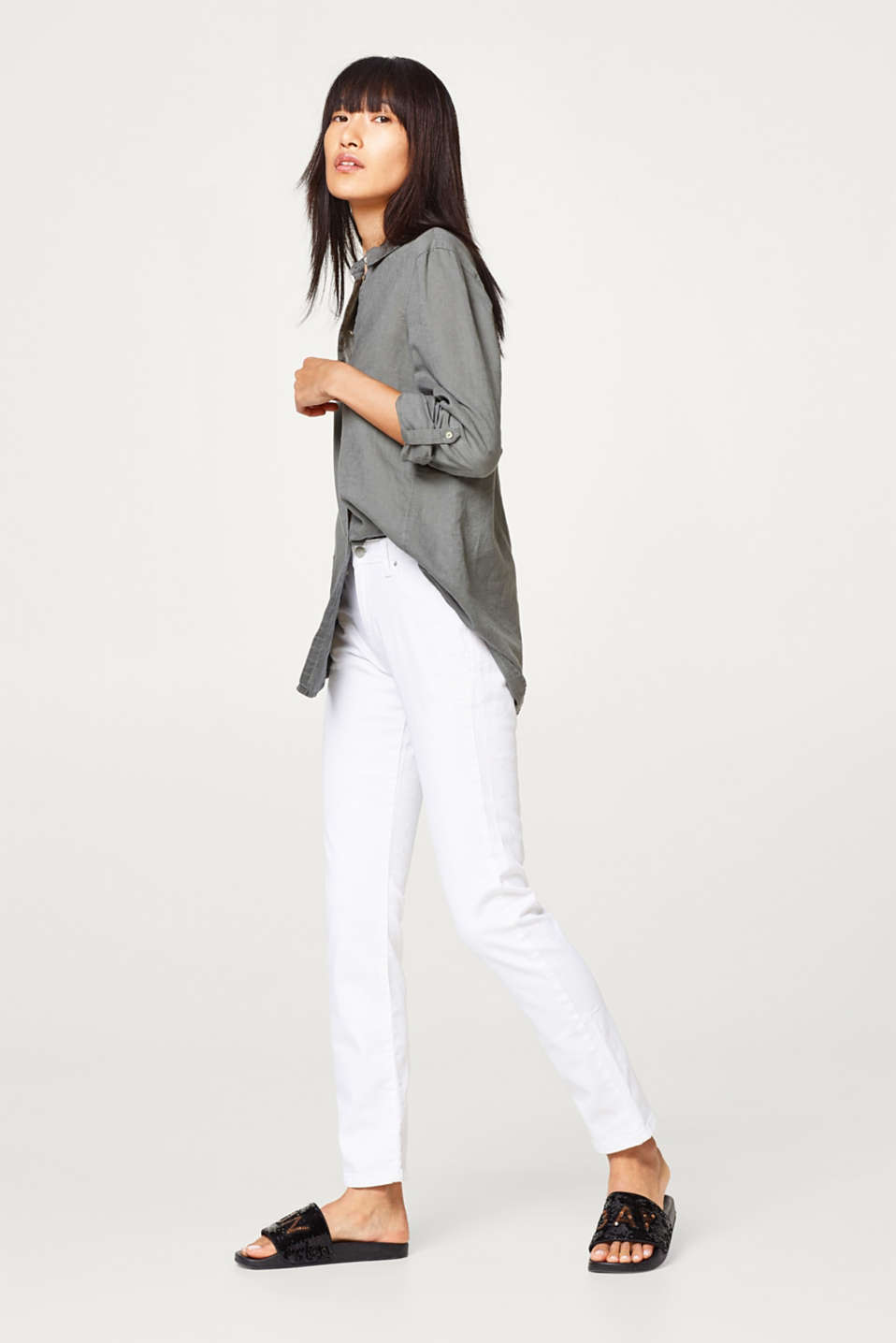 White stretch jeans with organic cotton