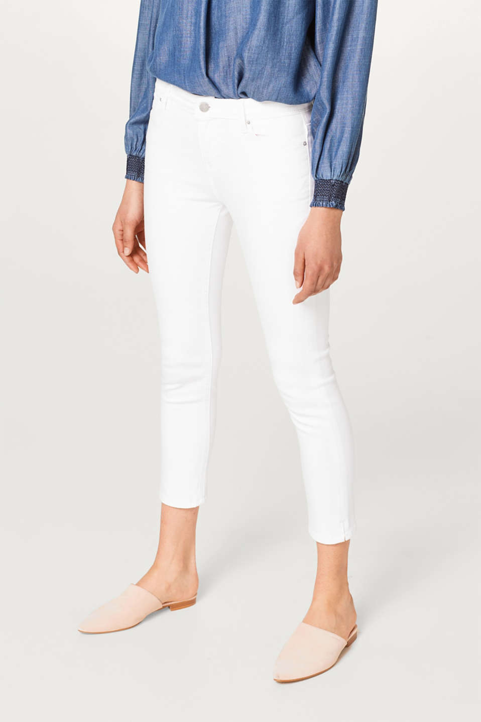 Esprit - Stretch-Jeans in sommerlicher Capri-Länge
