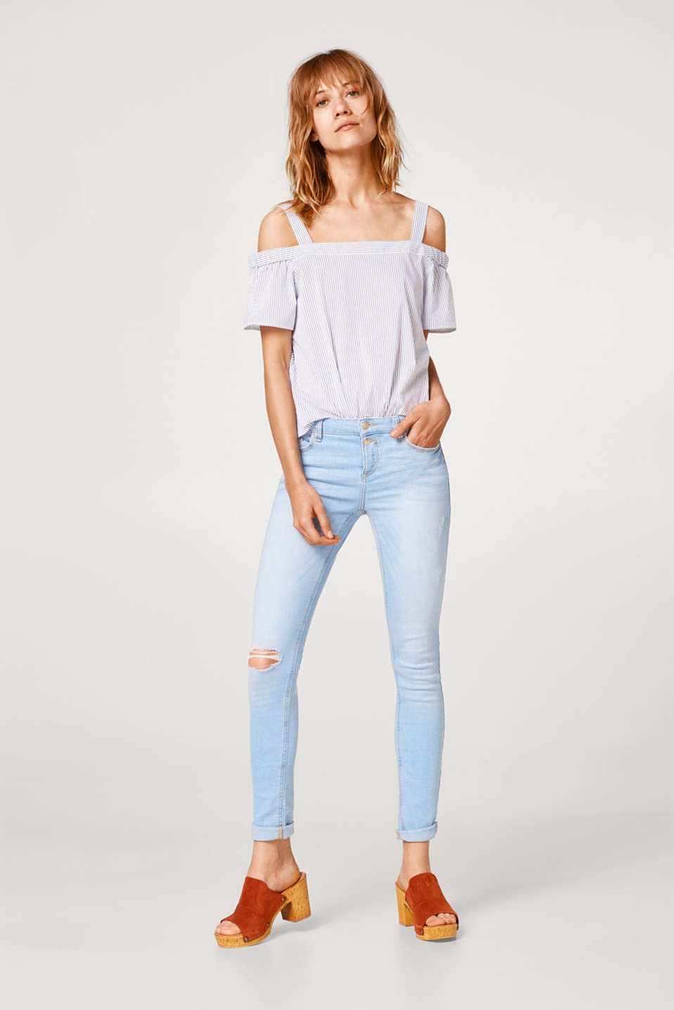 Bleached-effect stretch jeans with two buttons