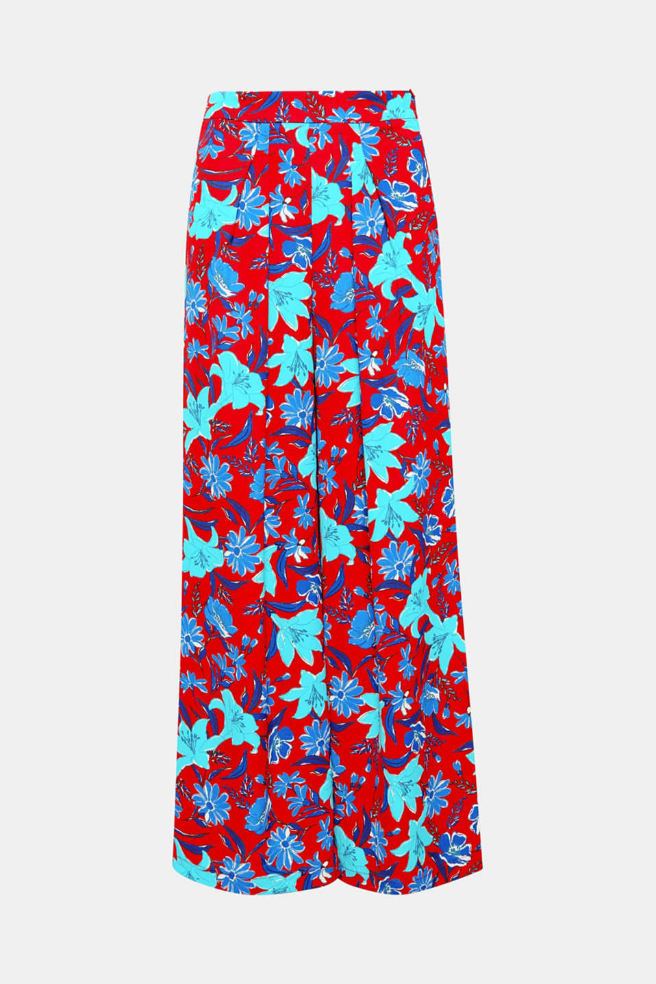 Striking flowers on flowing crêpe make these palazzo style trousers with waist pleats and an extra-wide leg a great fashion piece for beautiful summer days and long party nights!
