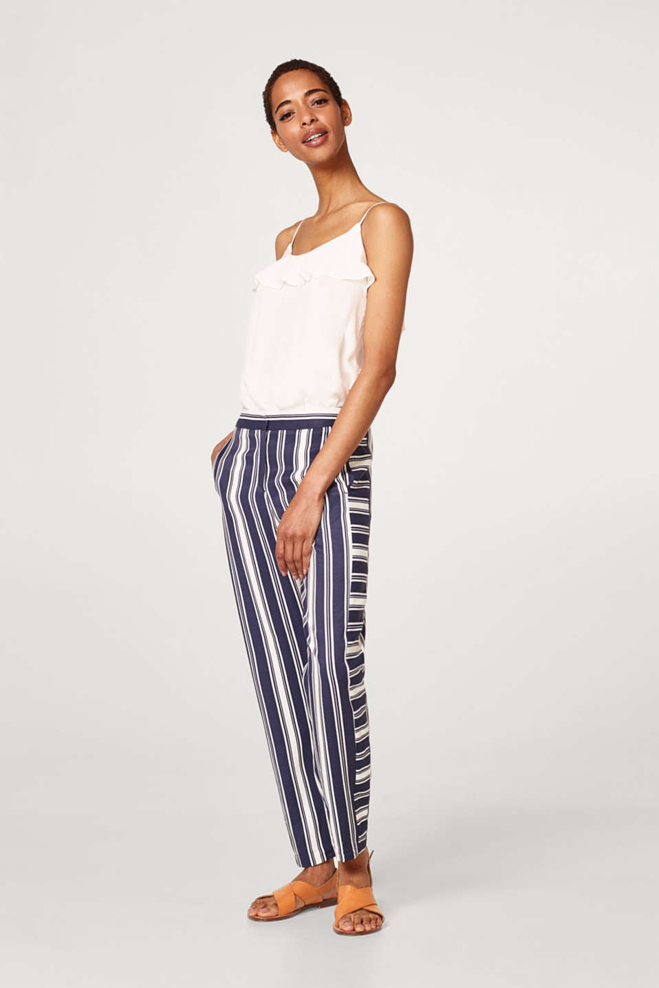 Esprit - Striped woven trousers with linen
