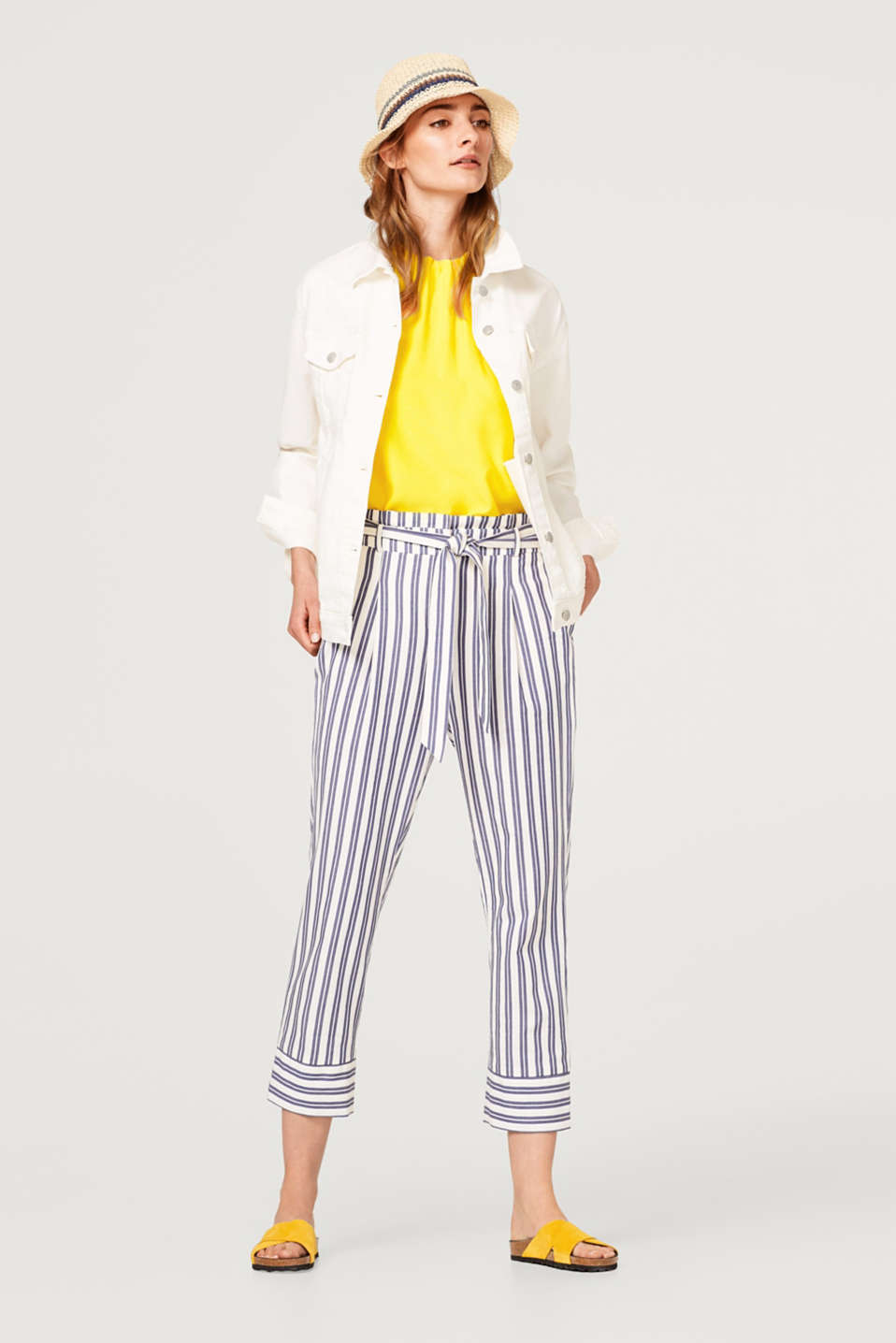 Striped paperbag trousers, 100% cotton