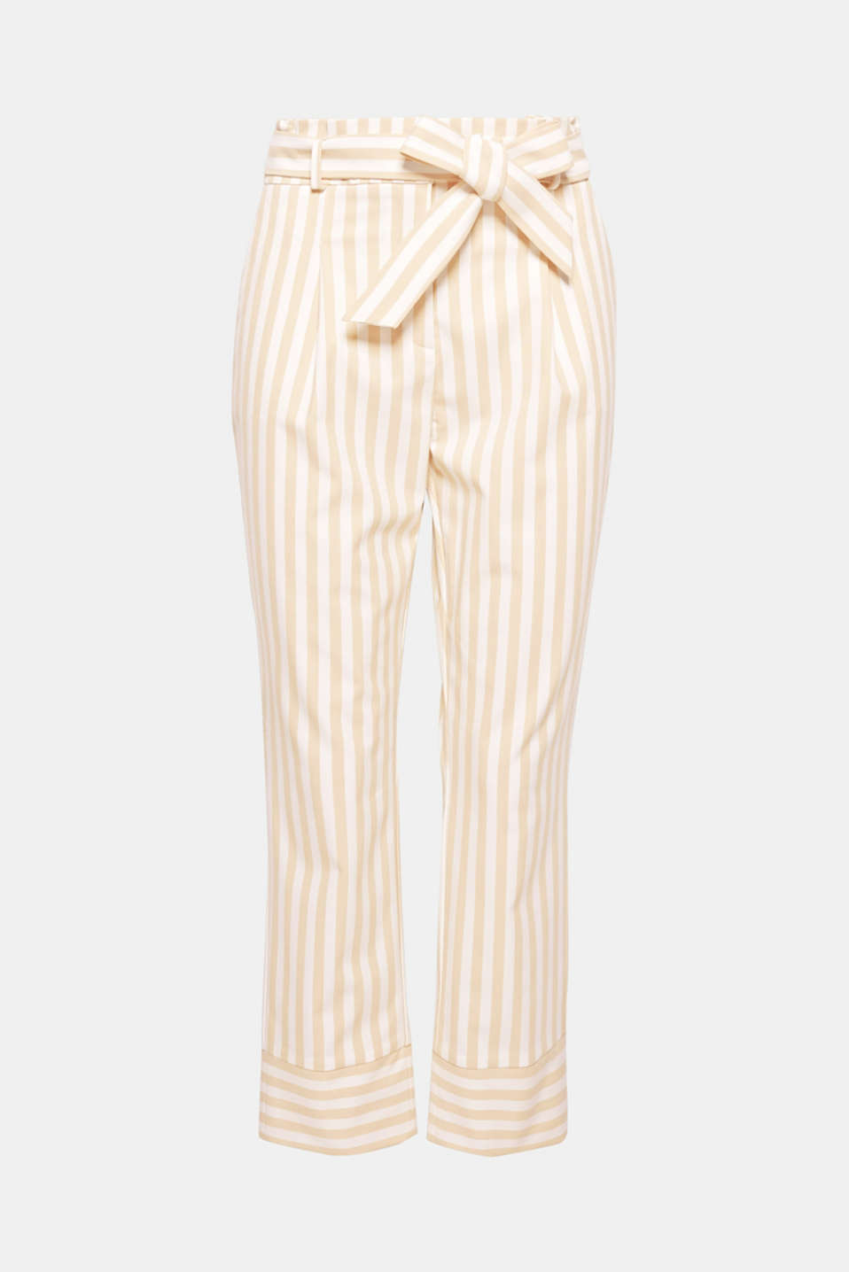 These new fashion trousers finished in a trendy, paperbag design featuring a lightly gathered waistband, modern stripes and deep hem trims are guaranteed to round off your look!