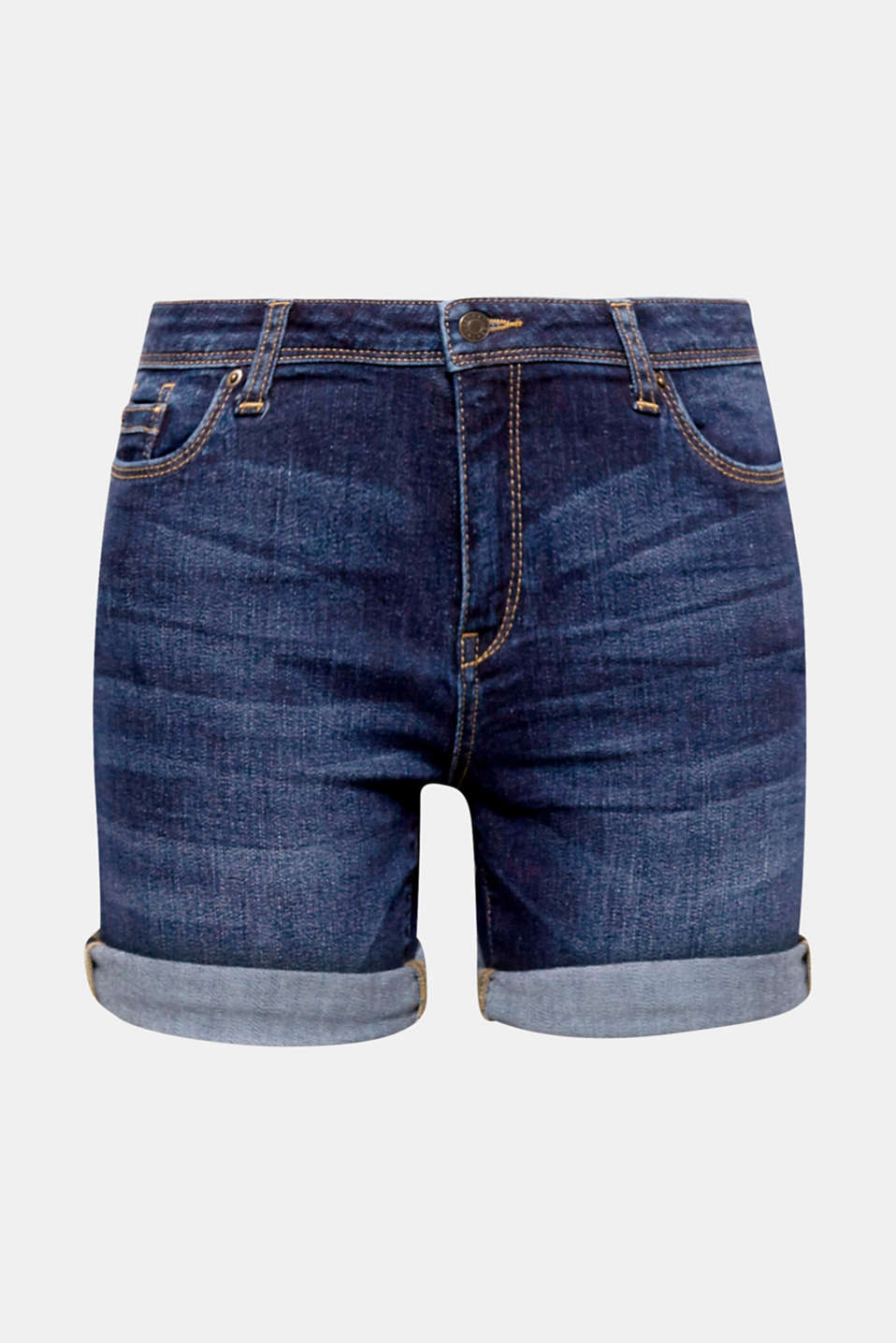 Your summer essential for free time and holidays: comfy and stretchy denim shorts in a five-pocket design.