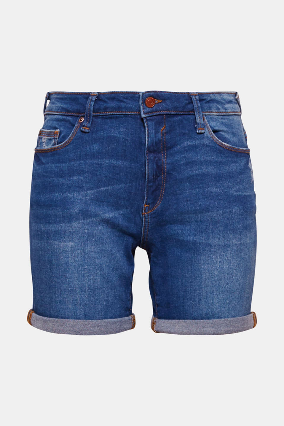 These denim shorts with a straight leg, vintage effects and added stretch for comfort are your perfect pair for summer!