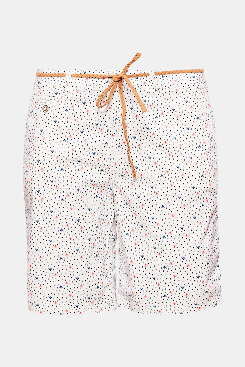 These soft shorts with a colourful all-over print and decorative, braided tie-around belt is beautifully summery!