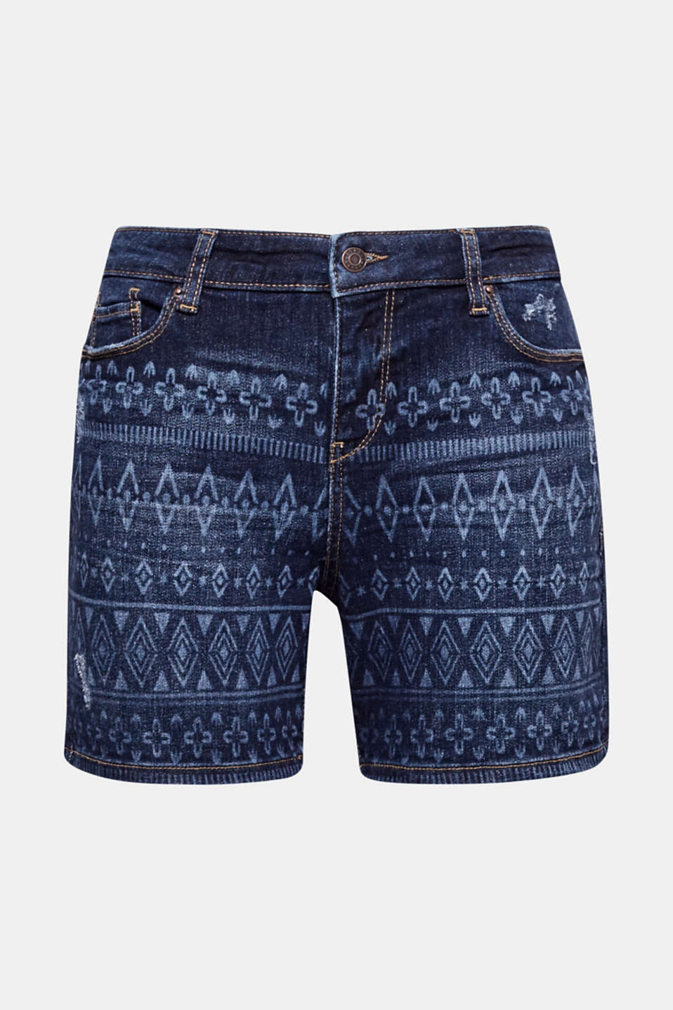 We love tribal-inspired looks! The trendy tribal style gives these denim shorts their character with added stretch for comfort.
