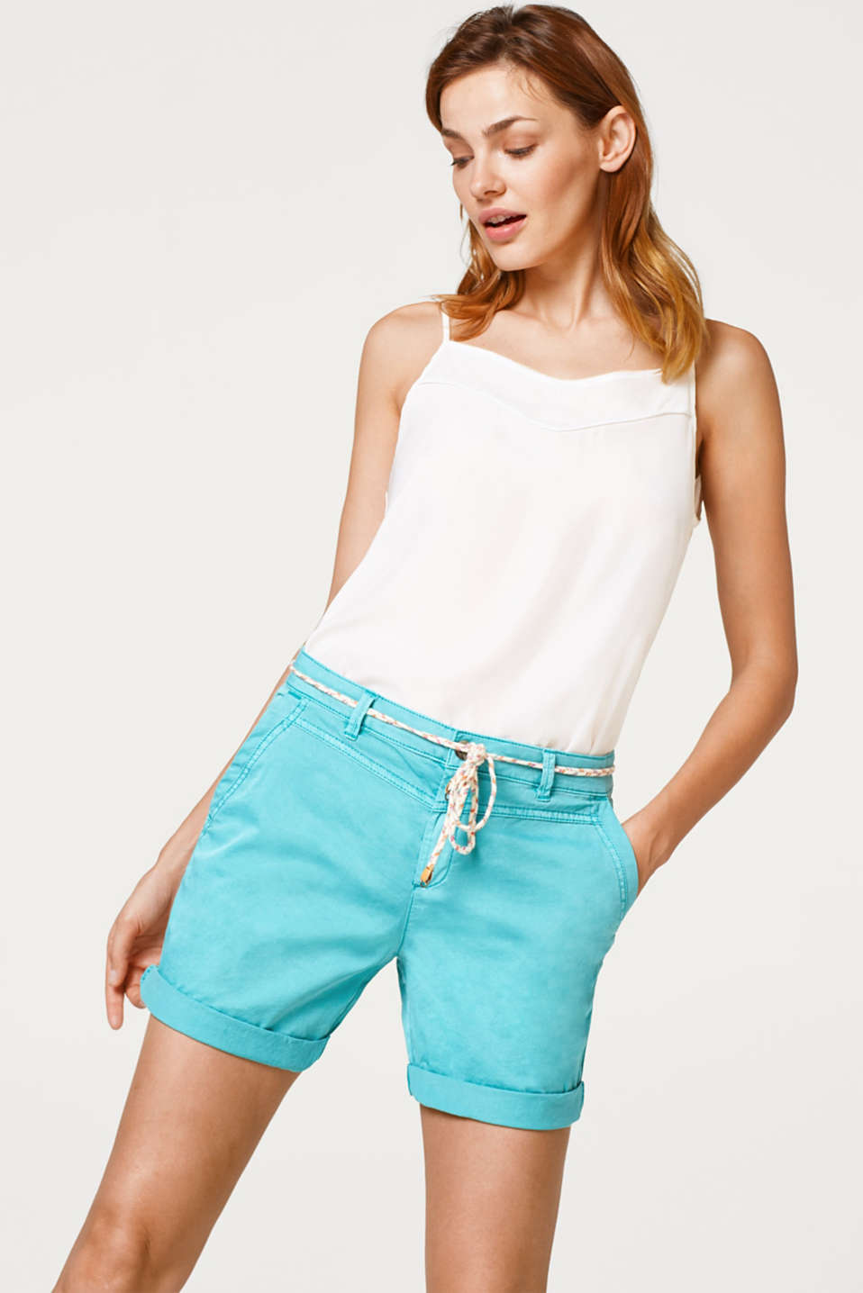 Esprit - Cotton stretch shorts with a narrow cord belt