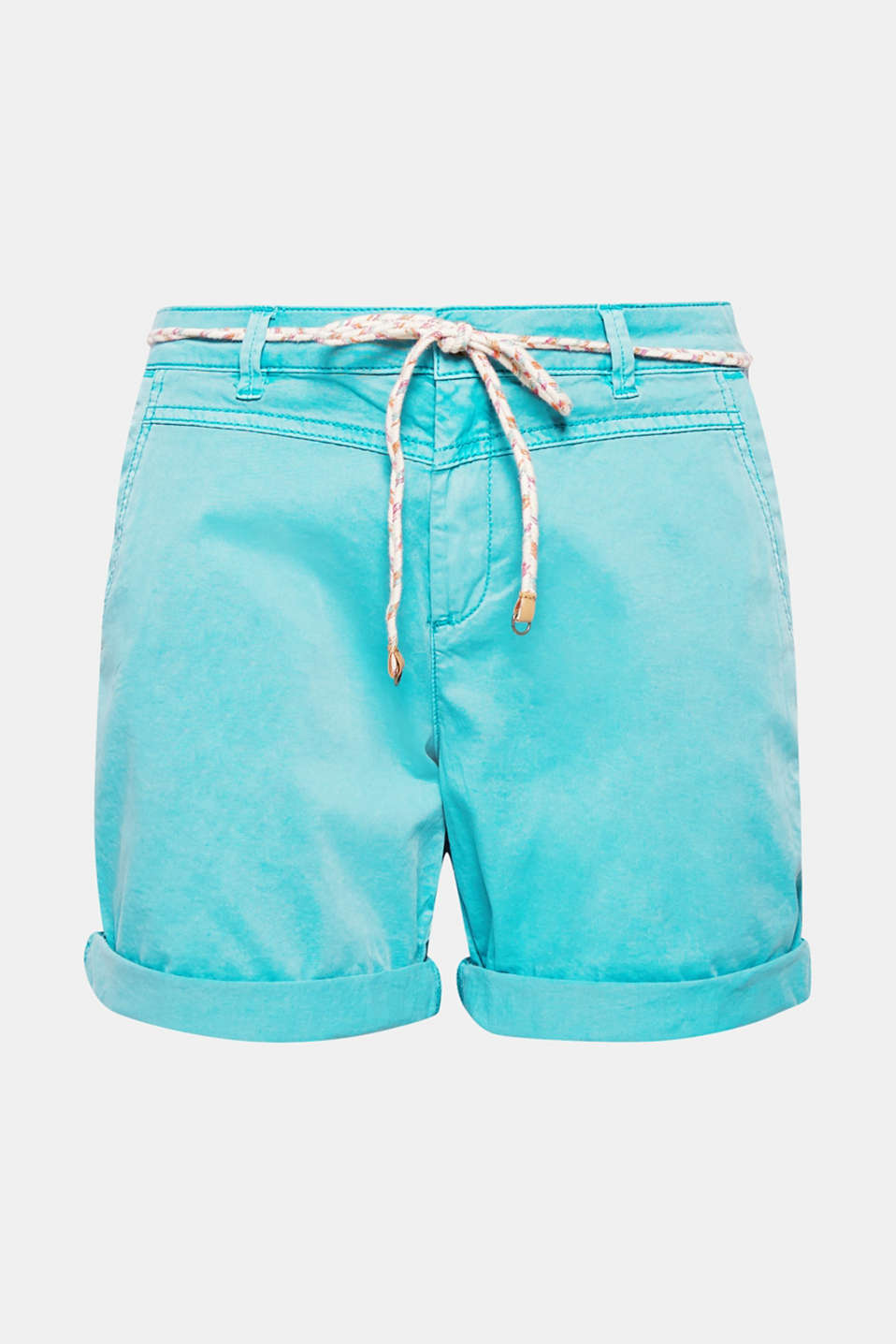 Stylish summer and leisure basic: these shorts get their casual look from to the soft stretch cotton fabric and the decorative cord belt!